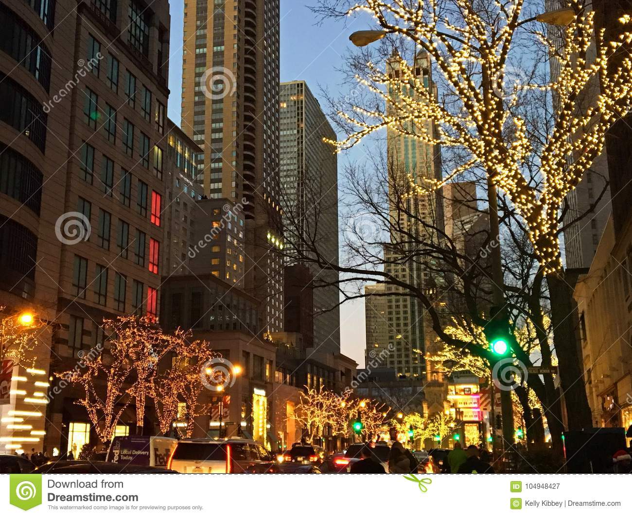A Chicago Street At Christmas Time Editorial Photography