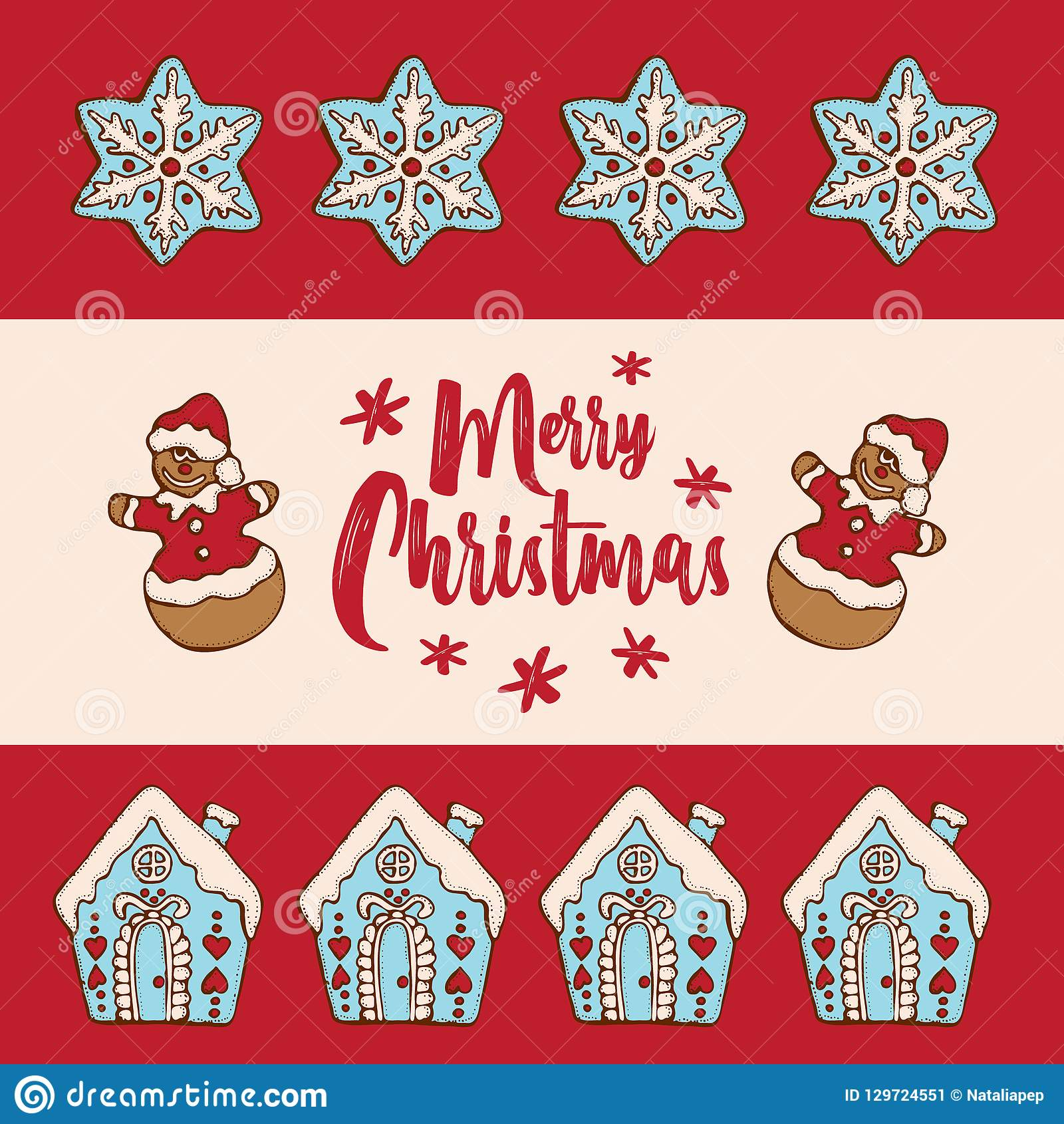 festive christmas and new year card invitation banner template vector illustration with christmas homemade gingerbread