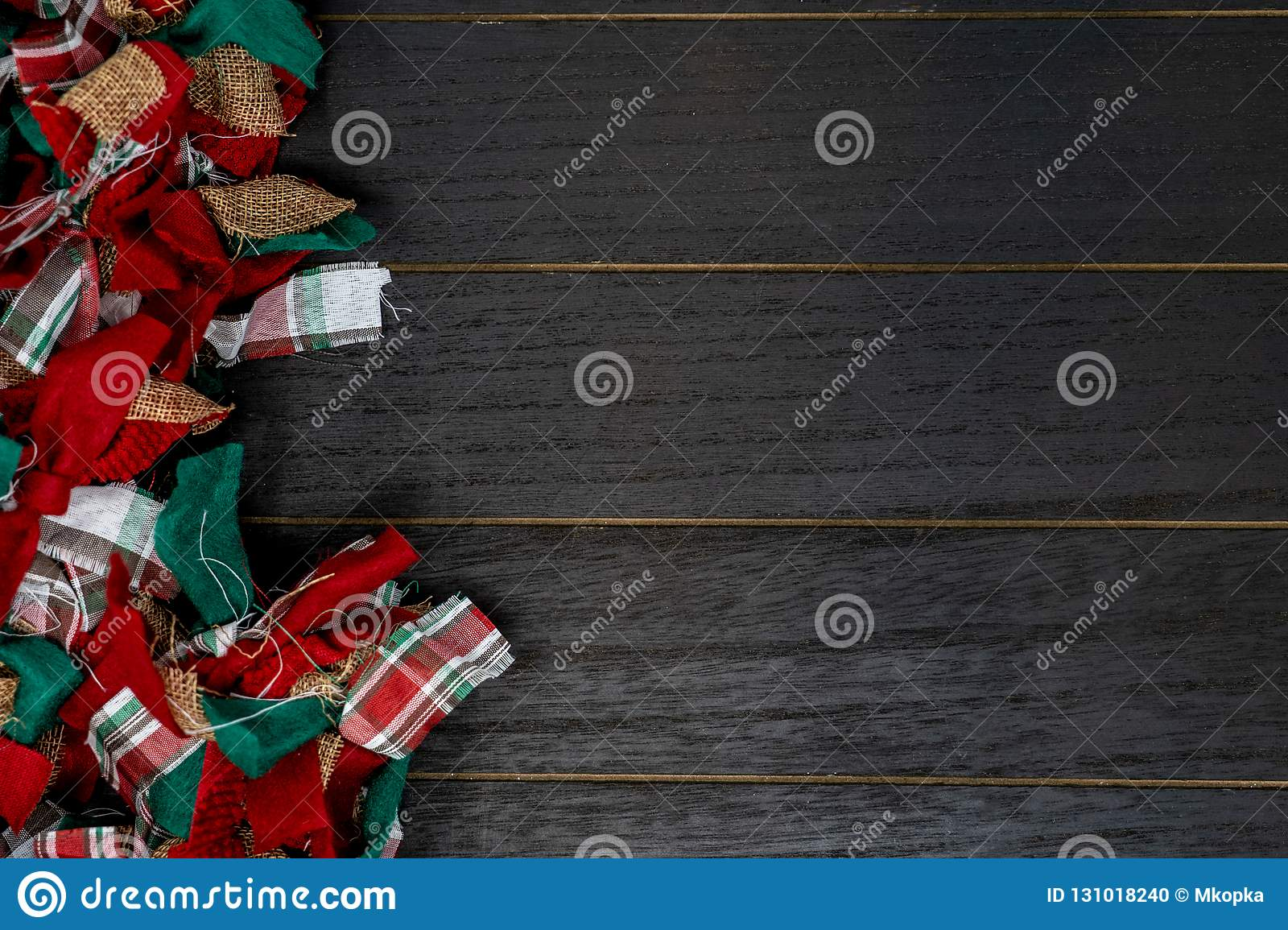 Festive Christmas Red Green And White Rag Fabric Garland Over Wood Backdrop Stock Photo Image Of Christmas Design 131018240