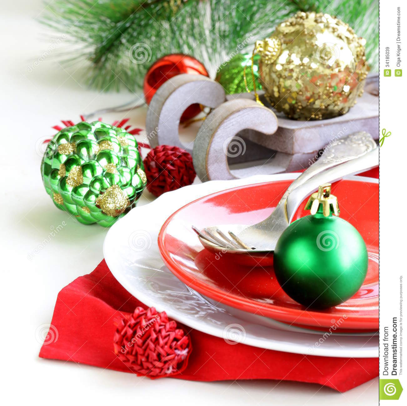 Festive Christmas Table Setting Royalty Free Stock Images - Image ...