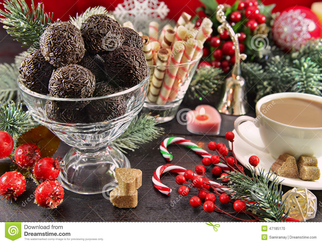 Festive Christmas Table With Sweet Dessert Stock Photo