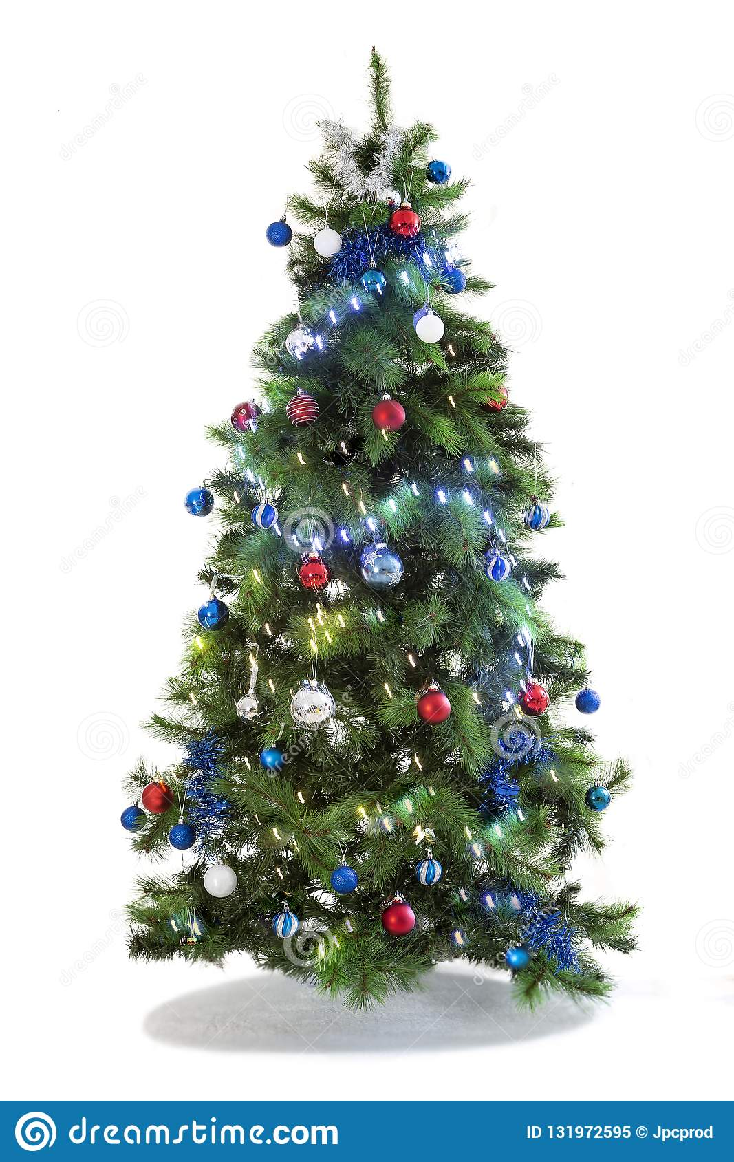 Festive Christmas tree decorated ,Beautiful new year background, isolated on white