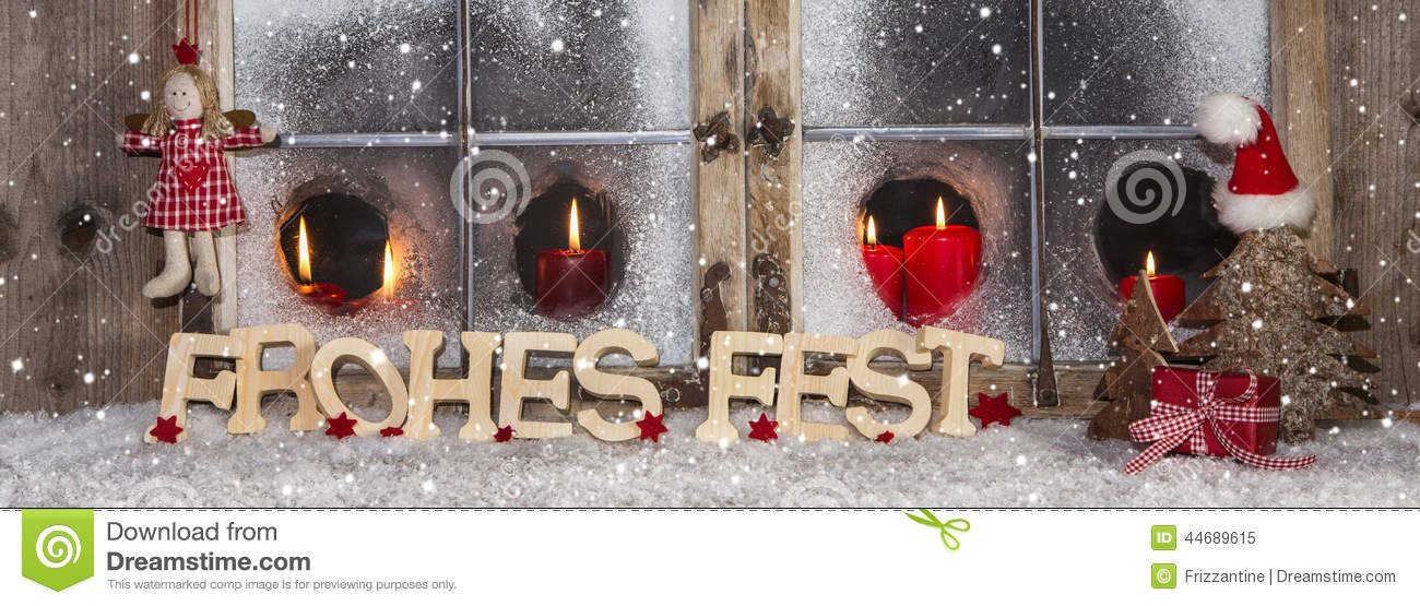 festive christmas window decoration with red candles - Merry Christmas Window Decorations