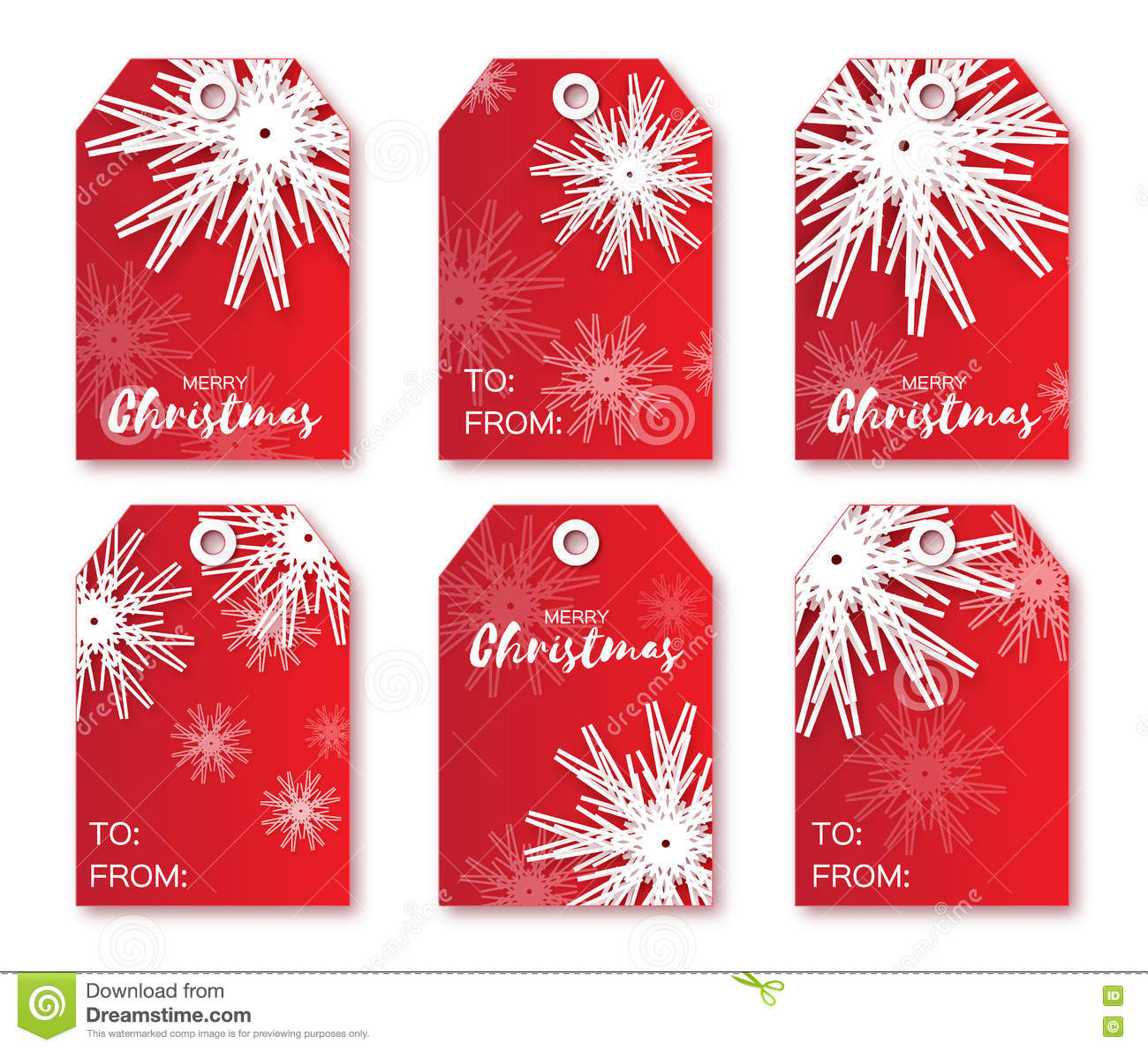 image about Printable Christmas Labels named Festive Range Of Crimson Xmas Labels. Inventory Vector