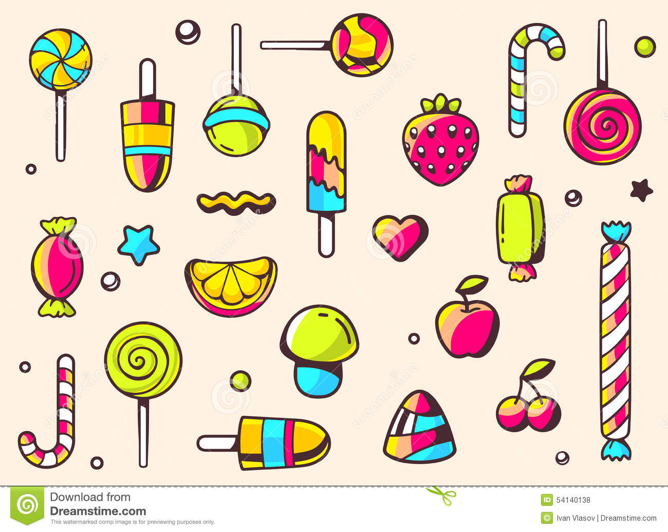 Line Art Poster Design : Festive colorful pattern with sweets on light background