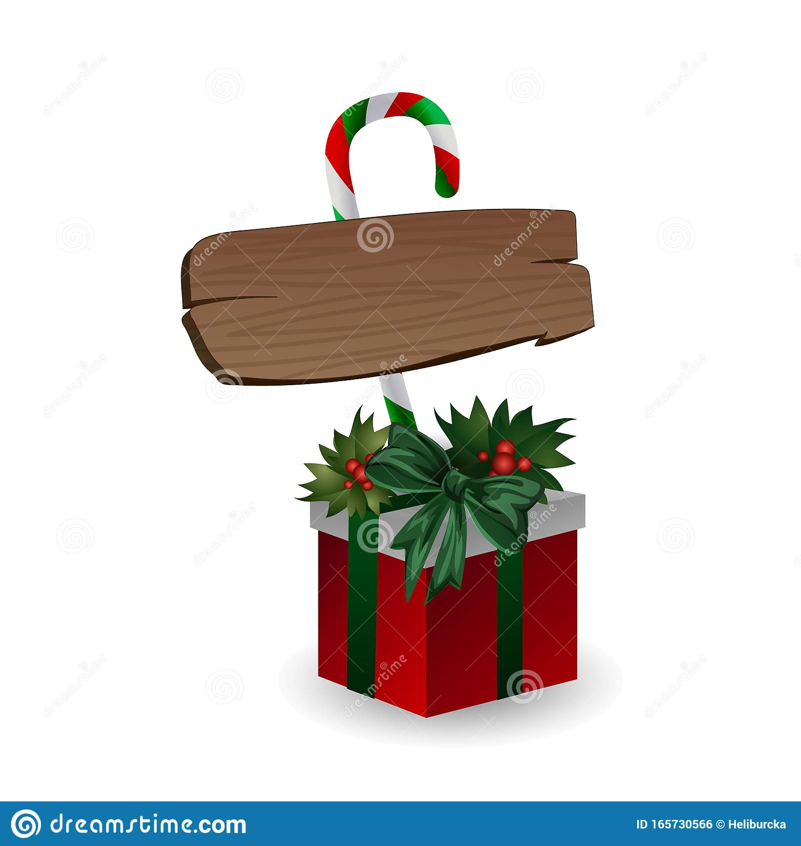Festive Composition With Wooden Board With Candy And Christmas Tree Branches On A Gift Box Decorated With Bows On A Stock Vector Illustration Of Decor Branches 165730566