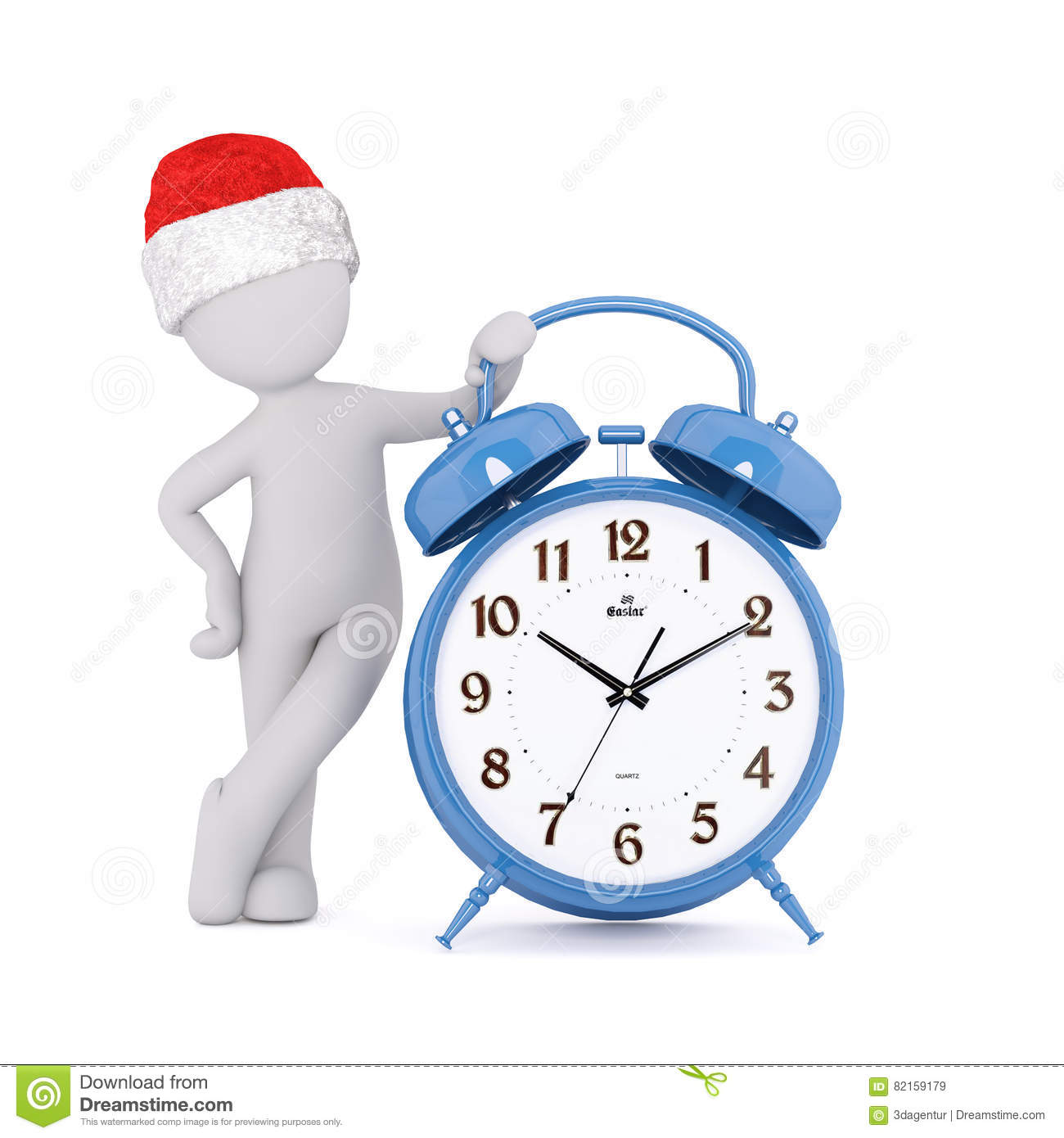 0e5b2079afeaa Festive 3d man in a Santa hat leaning on a blue alarm clock with bells  showing the time