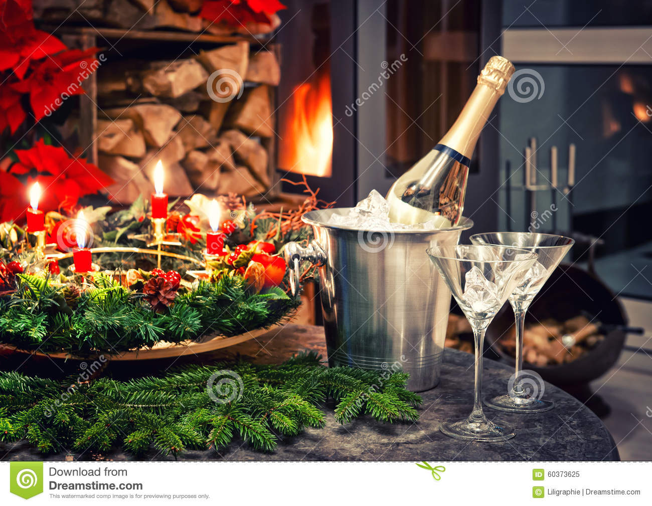 Festive Decoration With Champagne And Fireplace Stock