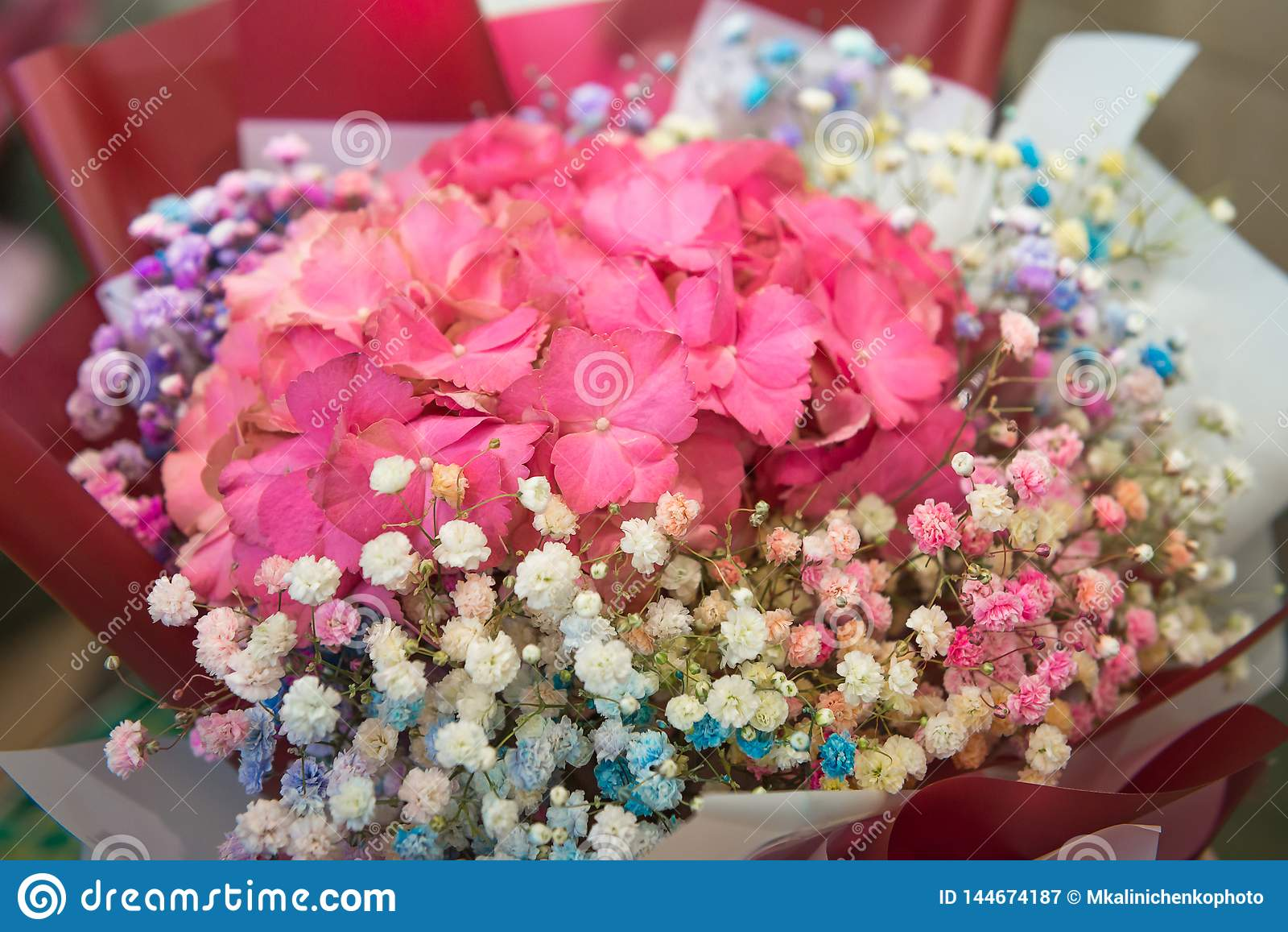 Festive delicate bouquet of pink hydrangea and colorful gypsophila, selective focus. Floristics and bouquets, greetings and