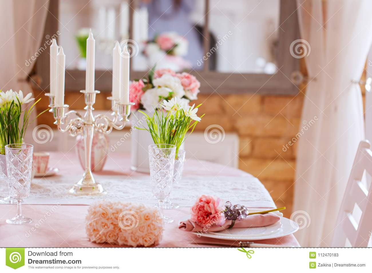 Festive Dinner Table Decoration Spring Holiday Decor Stock Image
