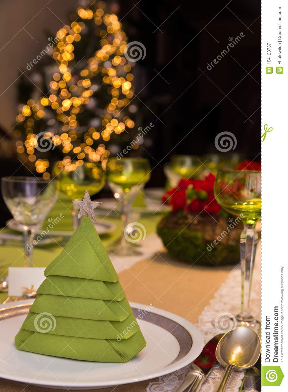 Dinner Table With Christmas Tree Stock Image , Image of