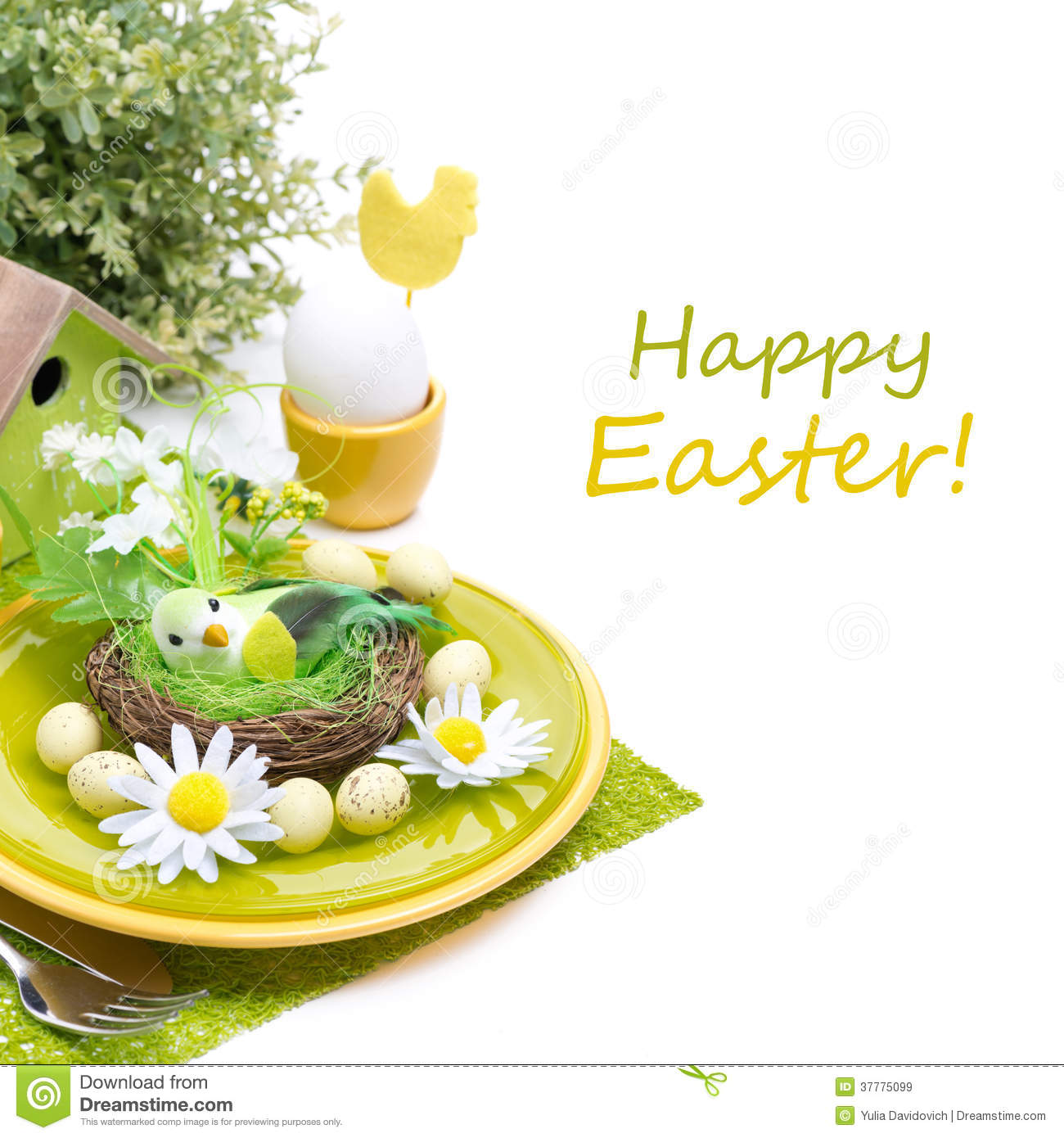 Festive easter table setting with decorations egg and flowers royalty