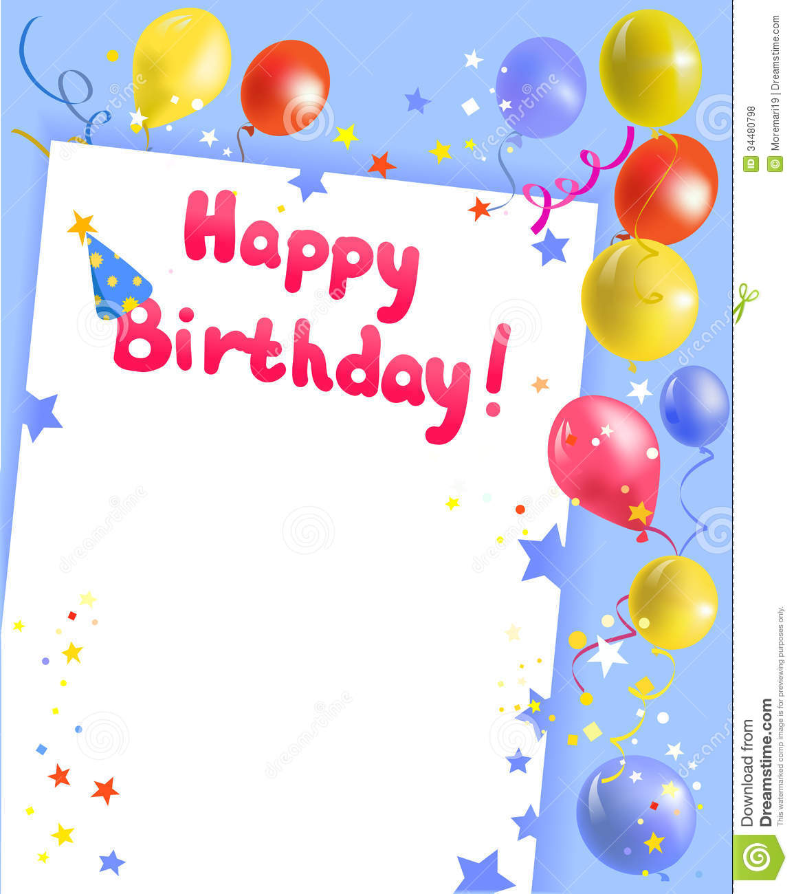 Festive Frame With Happy Birthday Stock Vector Illustration Of