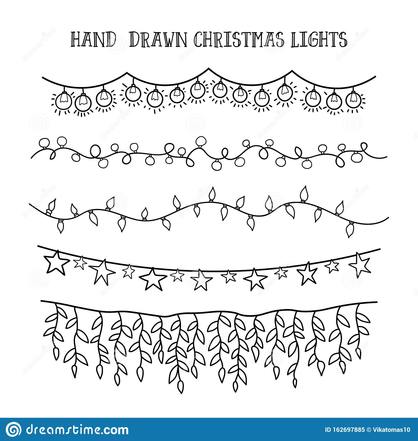festive garland decor drawing doodle vector set hand draw christmas lights 162697885