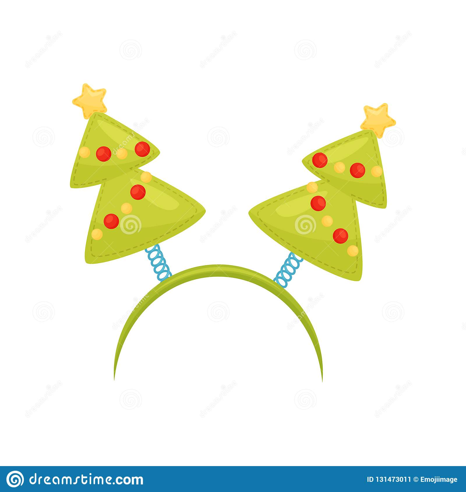 Festive hair hoop with Christmas trees. Holiday accessory for party. Holiday headband. Flat vector design