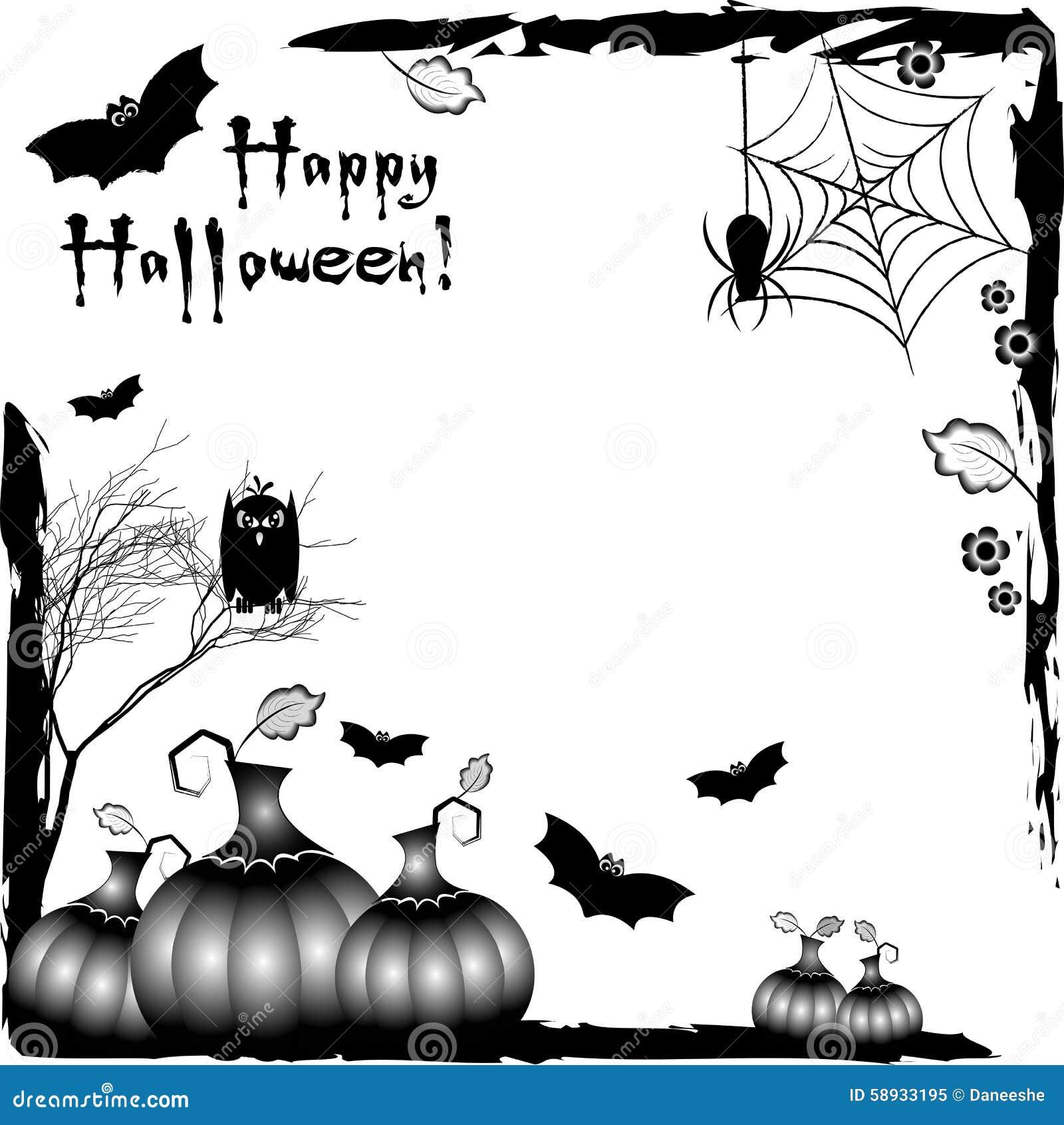 Festive Illustration On Theme Of Halloween. Black Corner Frames ...