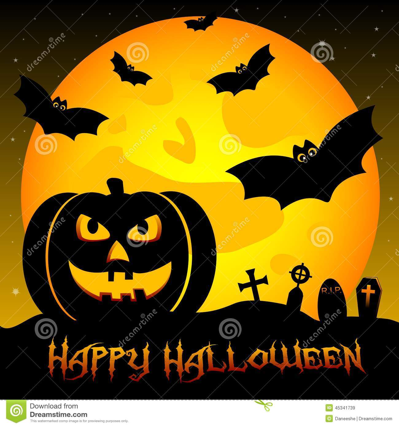Festive Illustration On Theme Of Halloween. Wishes For Happy Halloween.  Trick Or Treat. Moon, Crosses.