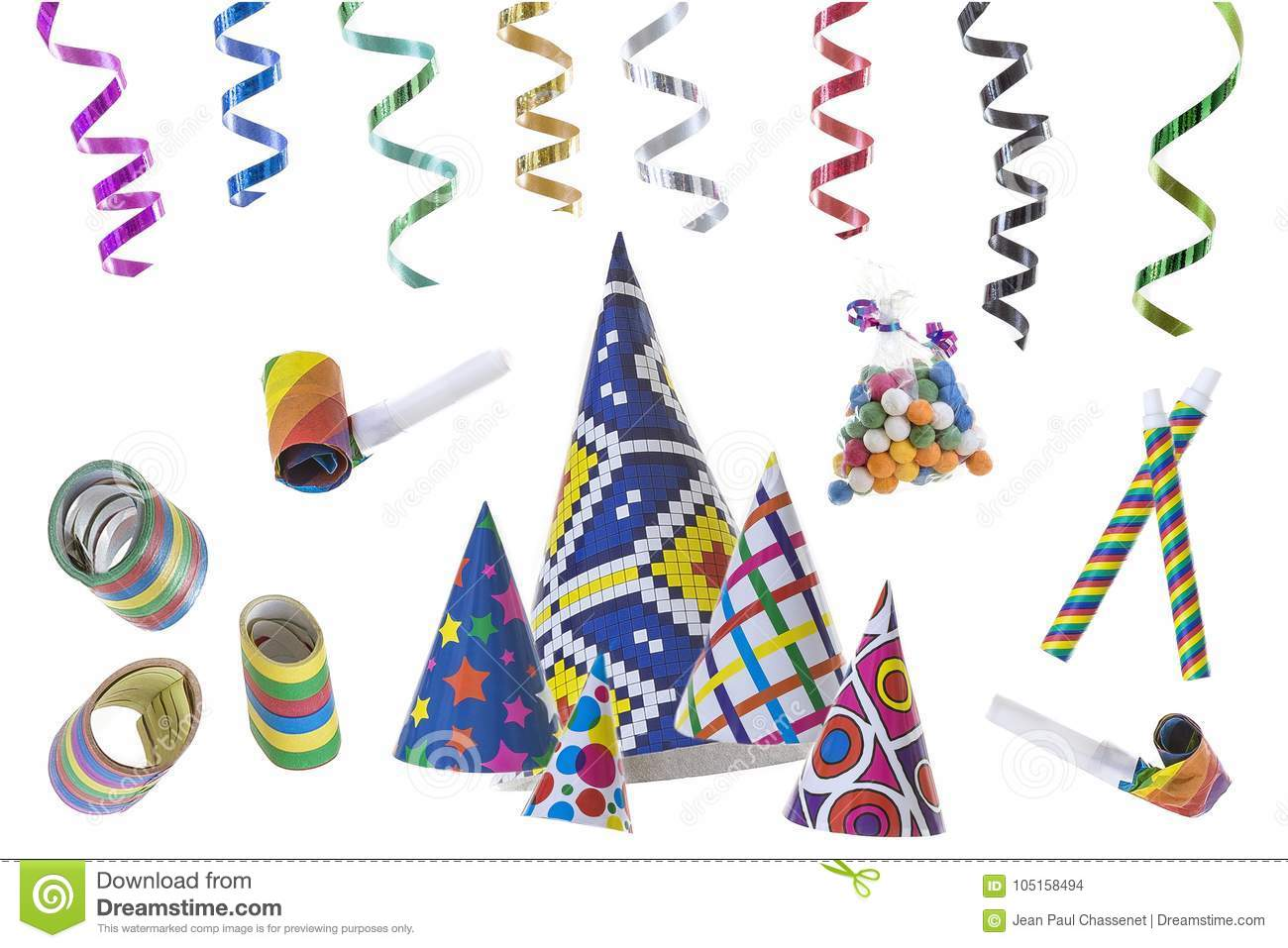 Festive image with rolls of curly ribbons hanging from top efts and multi party favors on the gound on black on the