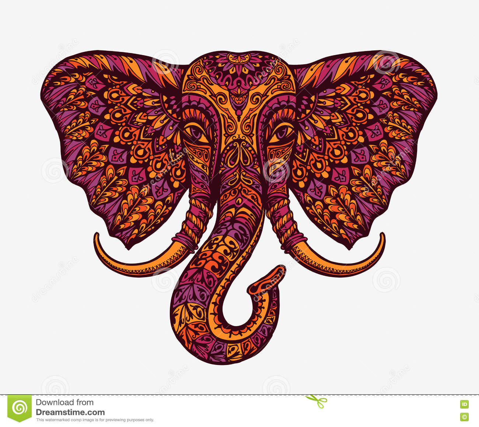 Festive indian elephant. Ethnic patterns. Vector illustration