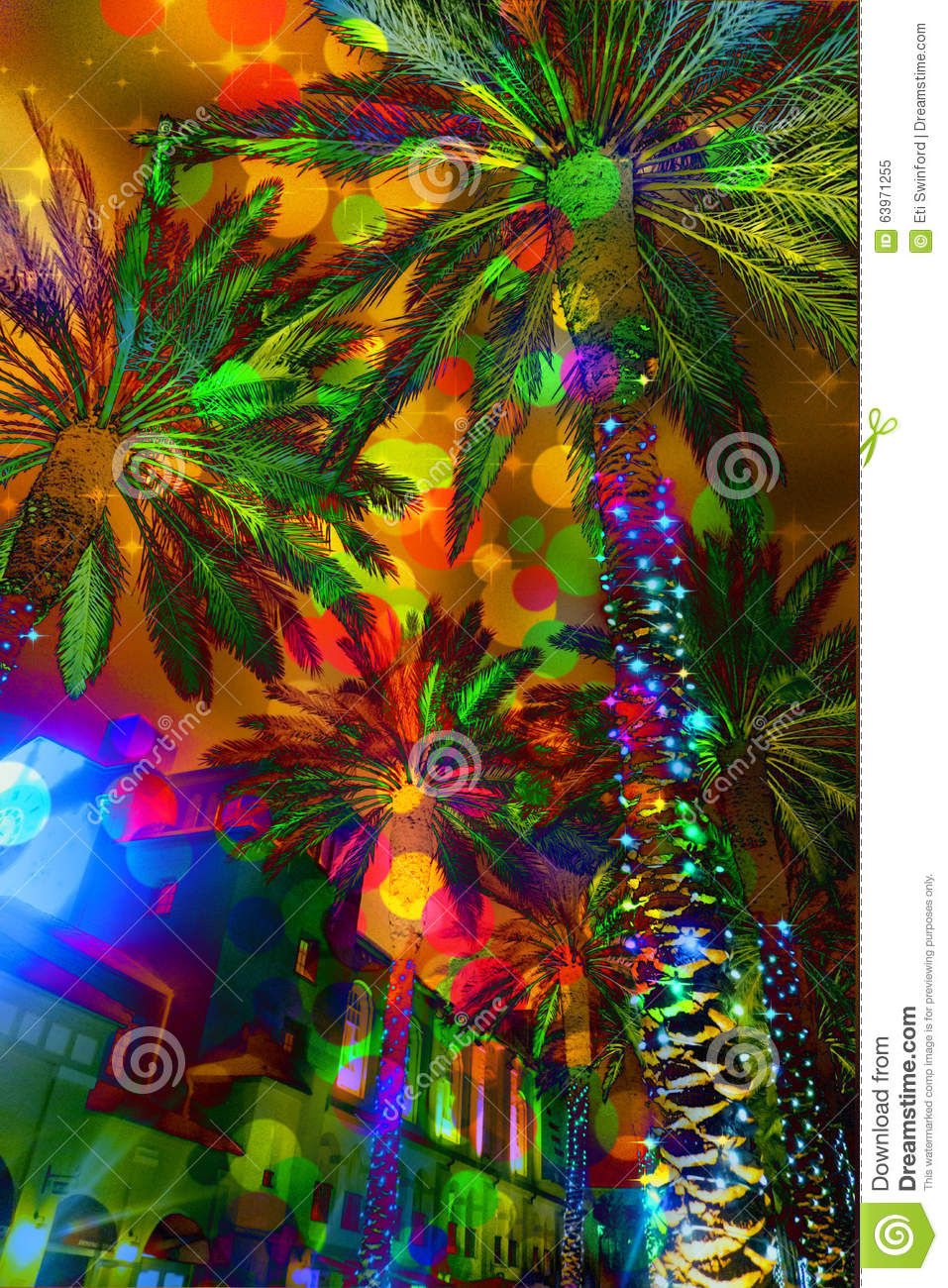 Festive Lights Abstract Palm Trees Stock Photo - Image