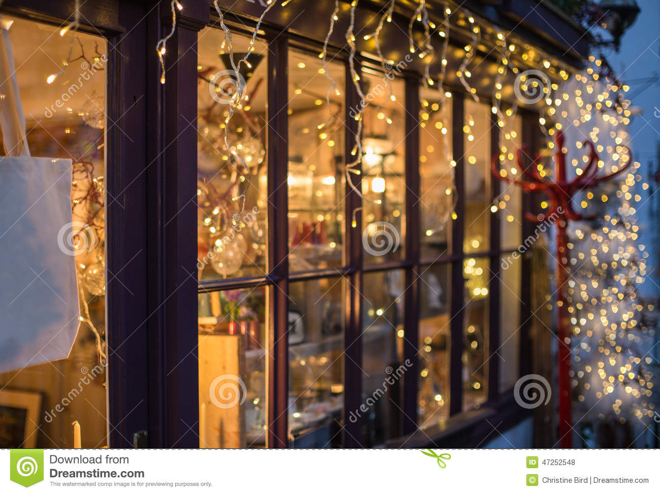 festive lights outside a shop window