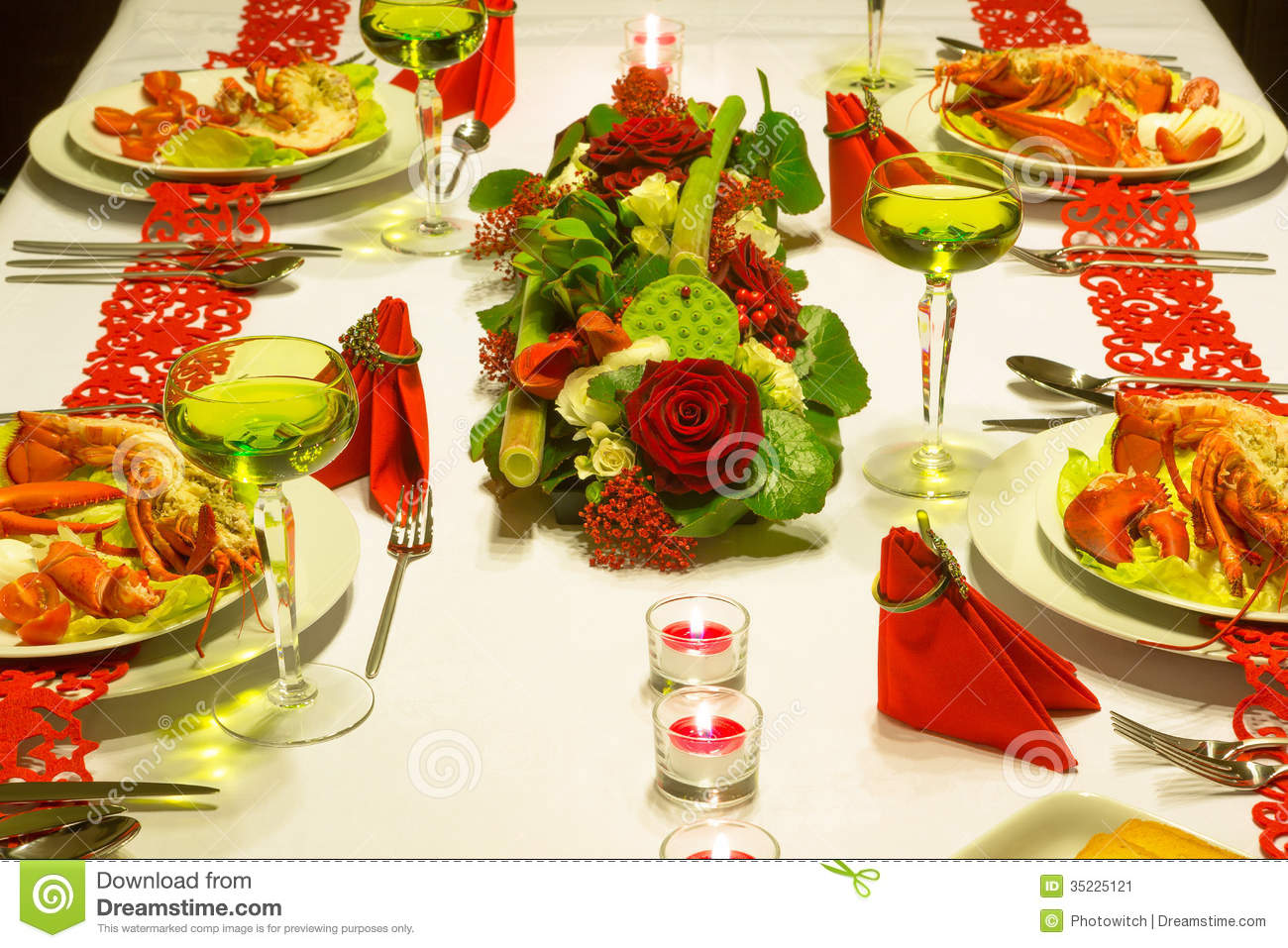 Festive Lobster Dinner Stock Image Image 35225121