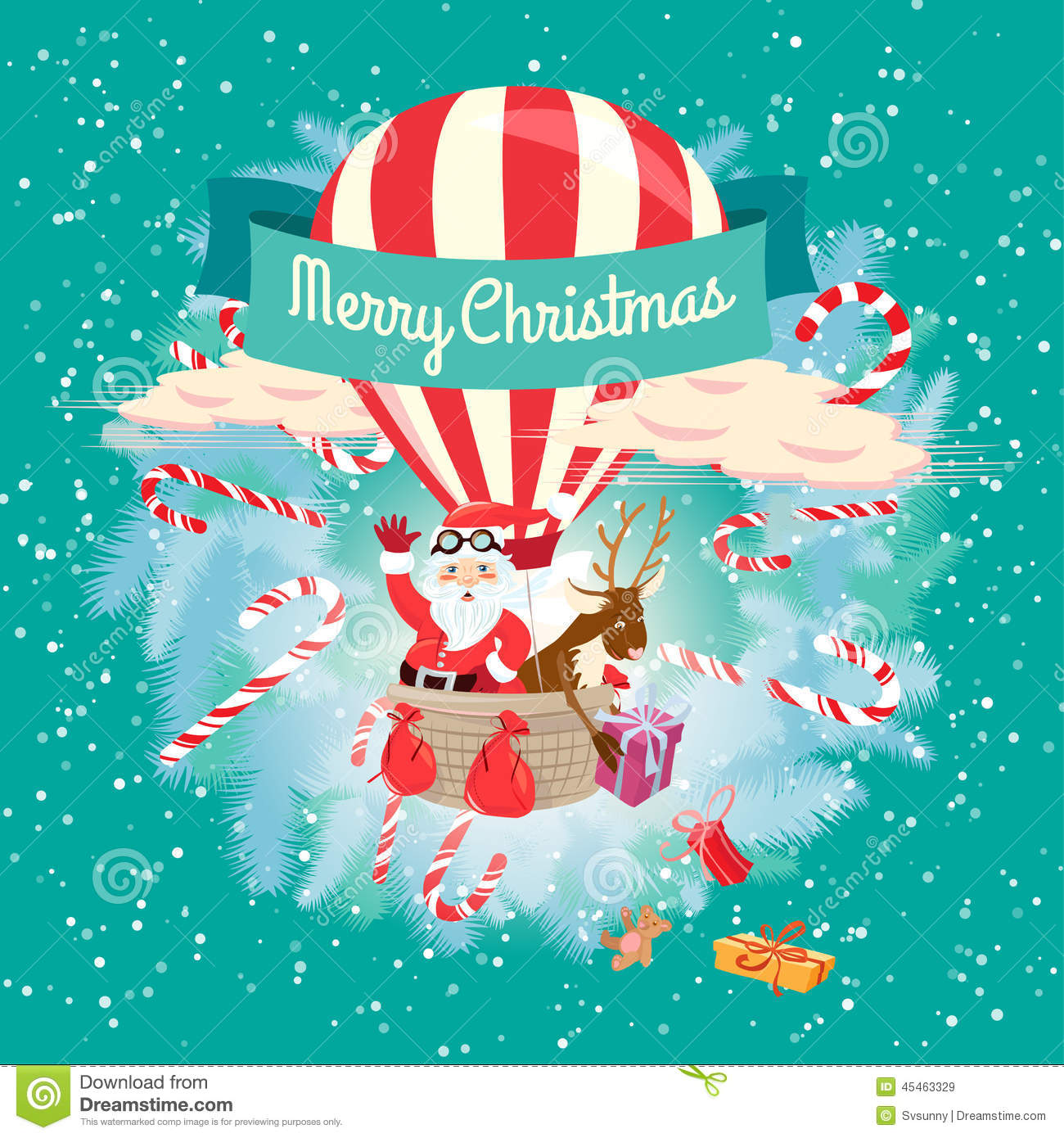 Festive merry christmas greeting card with santa claus and his d festive merry christmas greeting card with santa claus and his d m4hsunfo