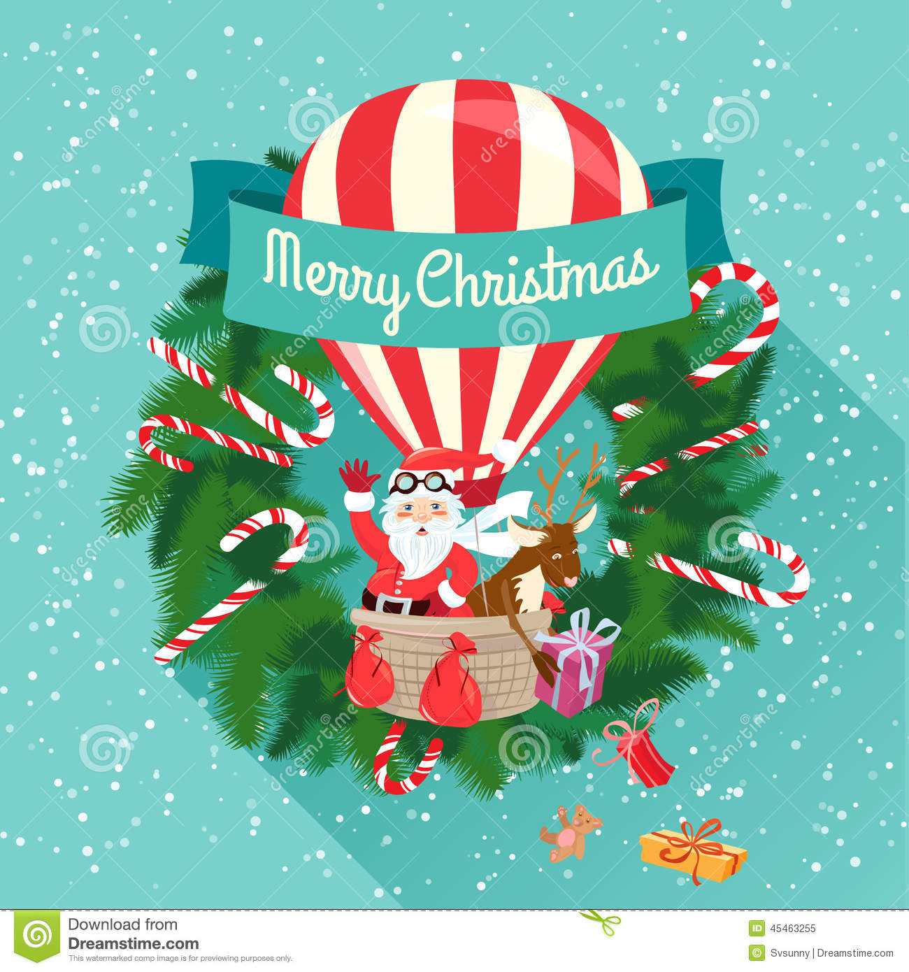 Festive Merry Christmas Greeting Card With Santa Claus And