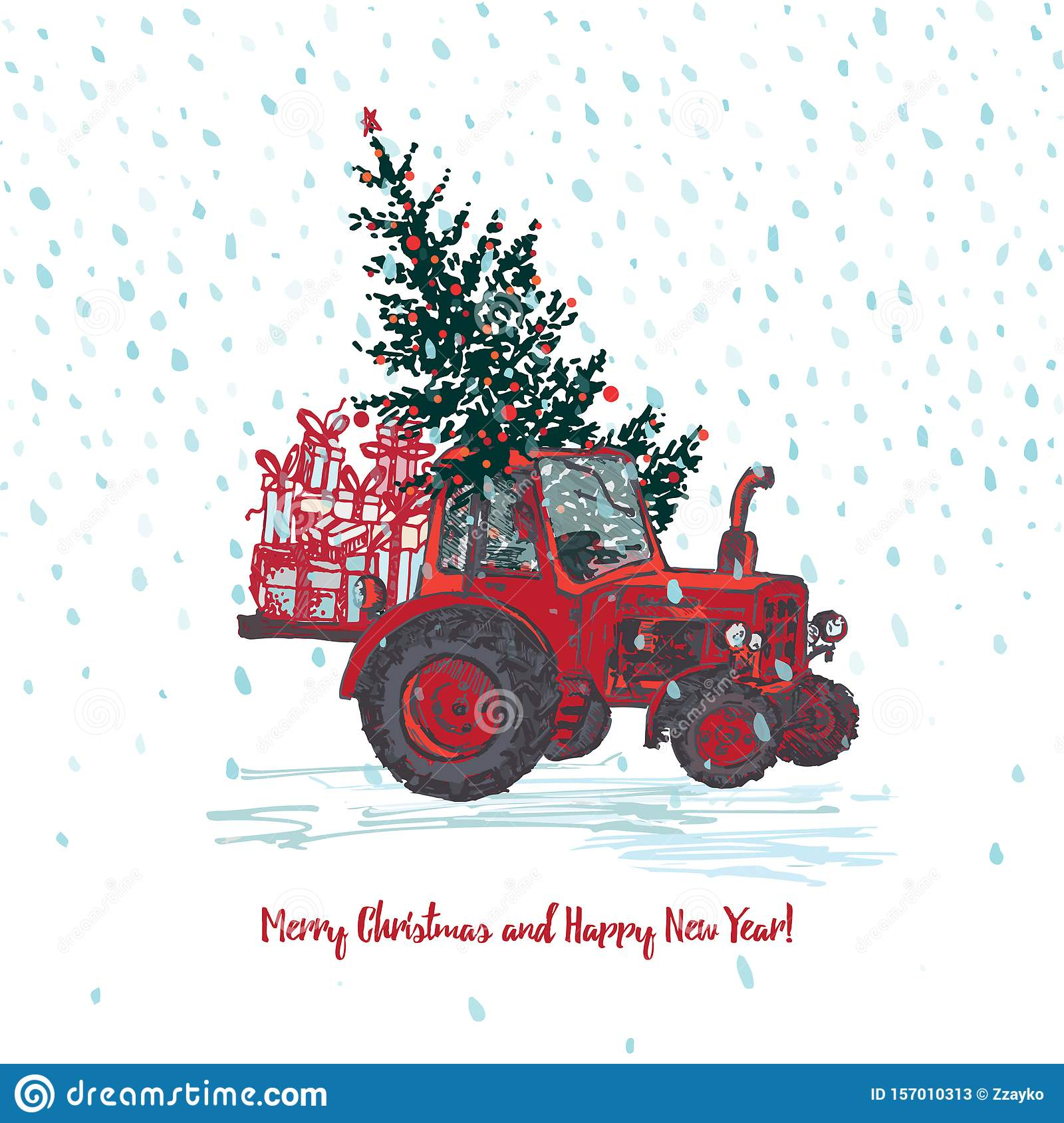 Festive New Year and Merry Christmas card. Red tractor with fir tree decorated red balls and holiday gifts White snowy