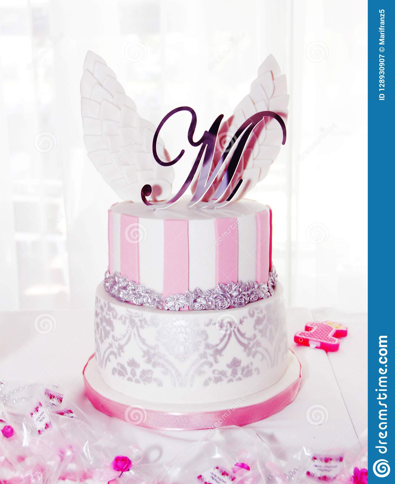 Amazing Festive Pink And White Birthday Cake With M Lettering And Wings Personalised Birthday Cards Veneteletsinfo