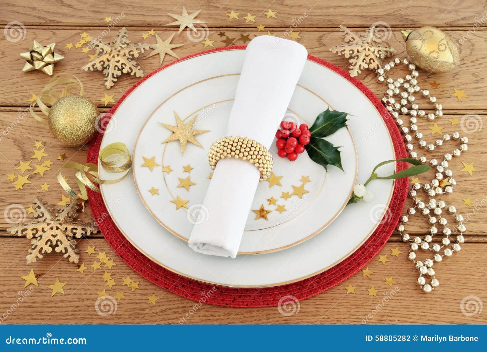Série De Mensagens E Jantar De: Festive Place Setting Stock Photo
