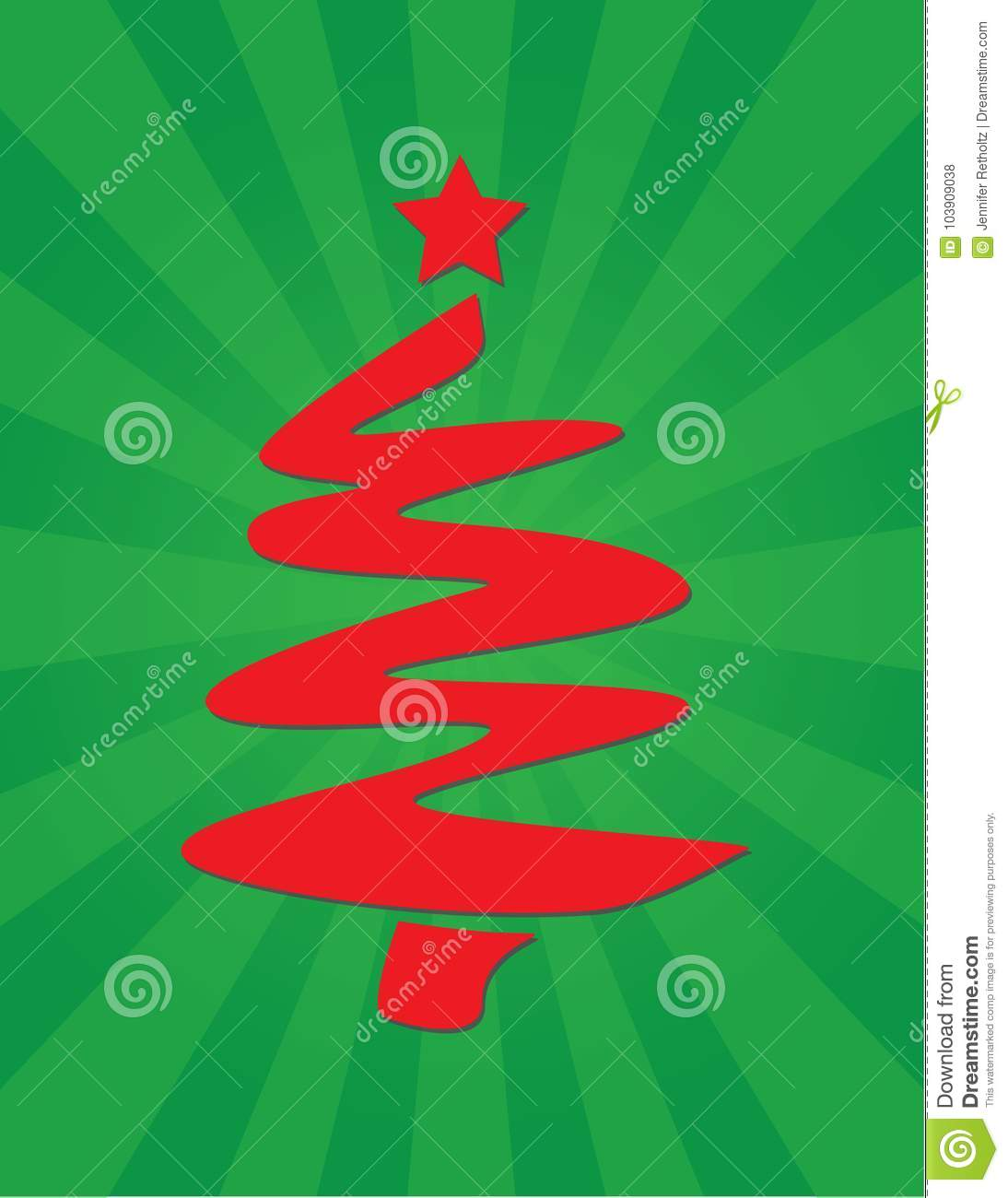 Festive Red And Green Christmas Tree Spiral Graphic Poster Stock ...