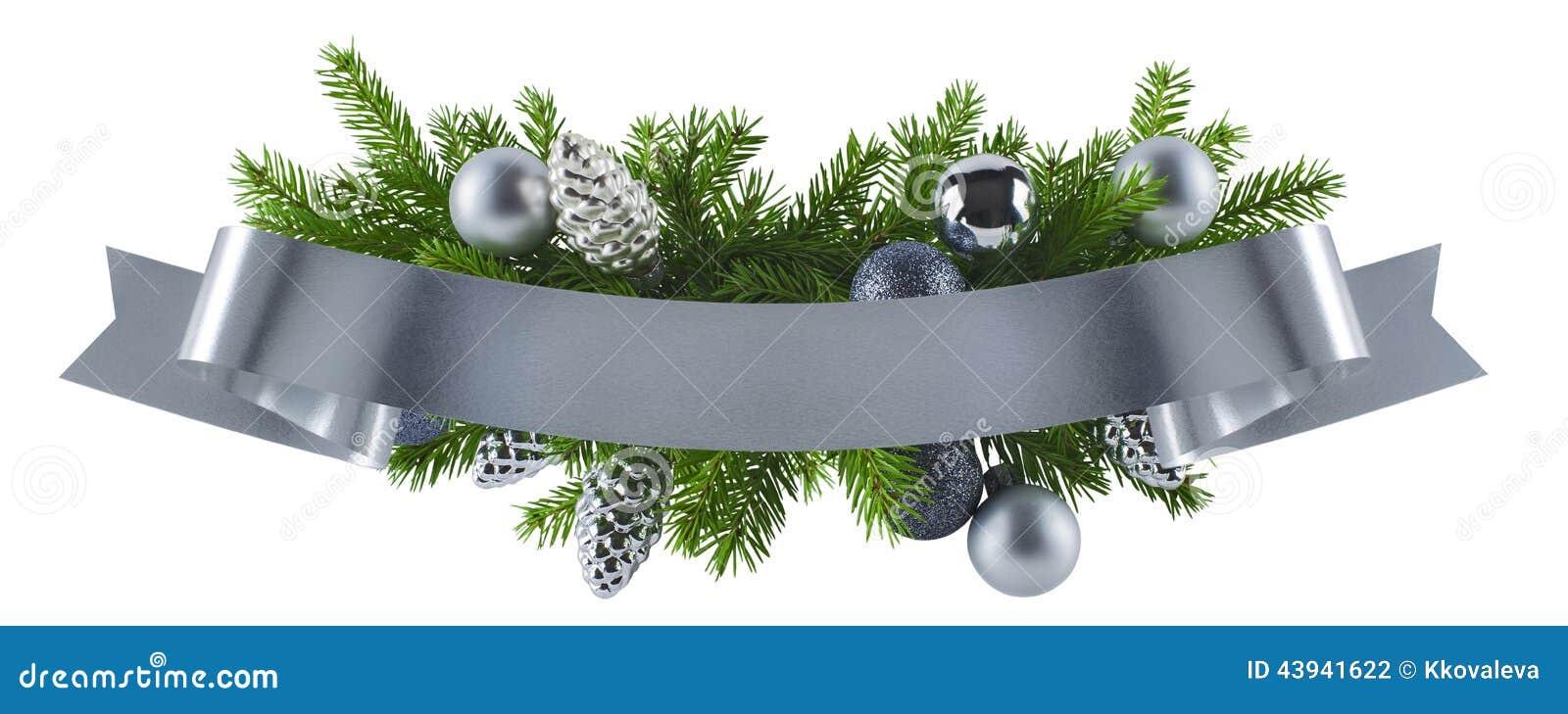 Decoration De Menu De Noel.Festive Rich Christmas Silver Decoration Element Stock Photo