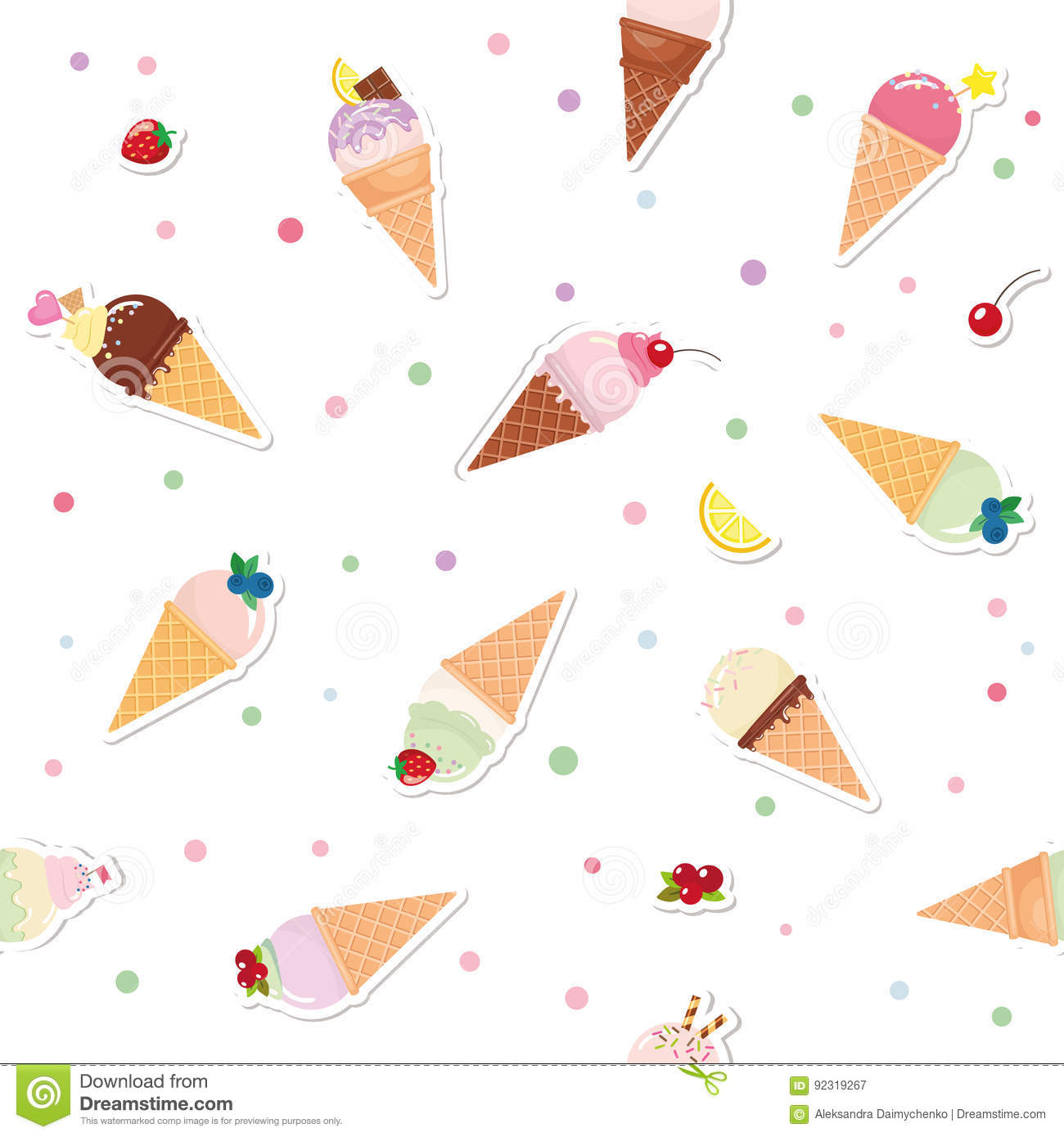 Festive seamless pattern background with paper cutout ice cream festive seamless pattern background with paper cutout ice cream cones fruits and polka dots maxwellsz
