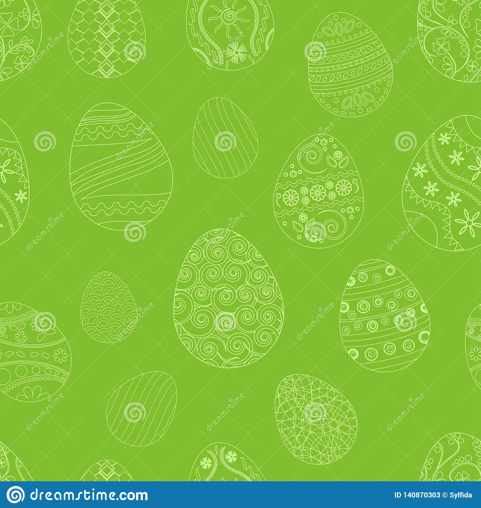 Festive seamless pattern with Easter eggs on green background. Vector illustration