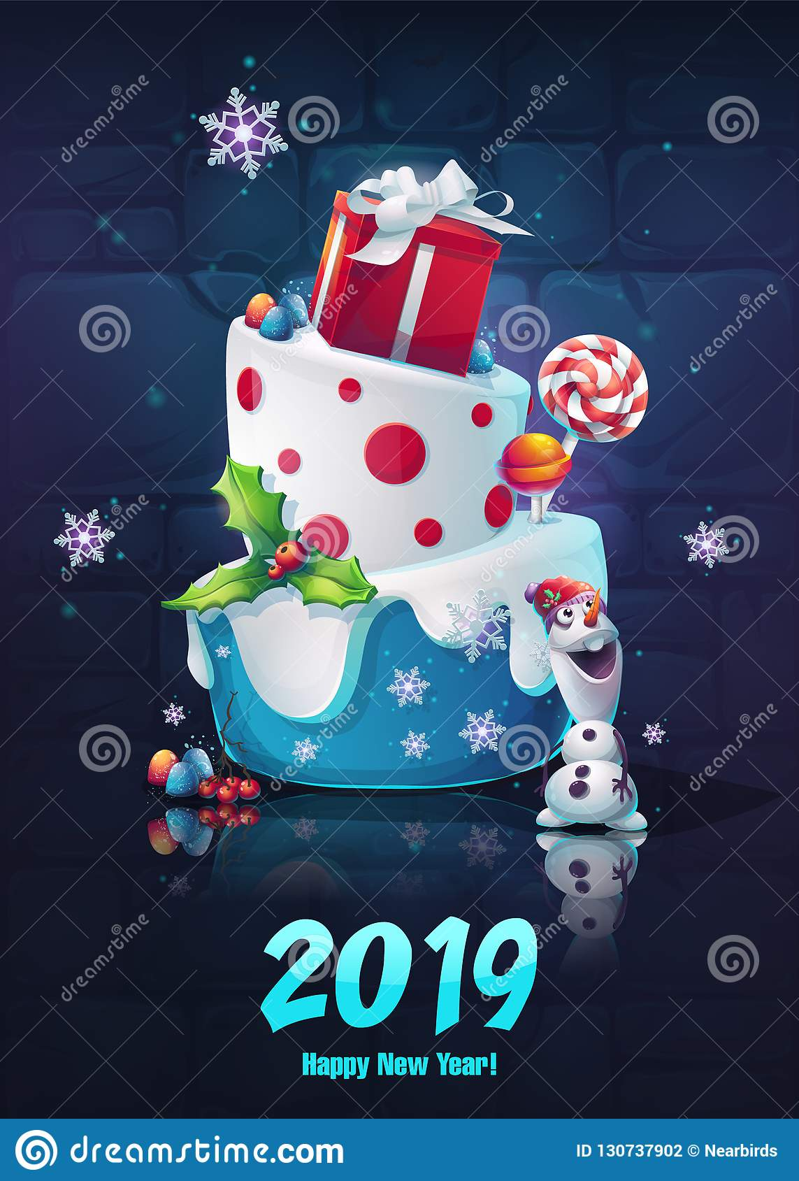 Festive Set - Happy New Year Stock Vector - Illustration of cartoon ...