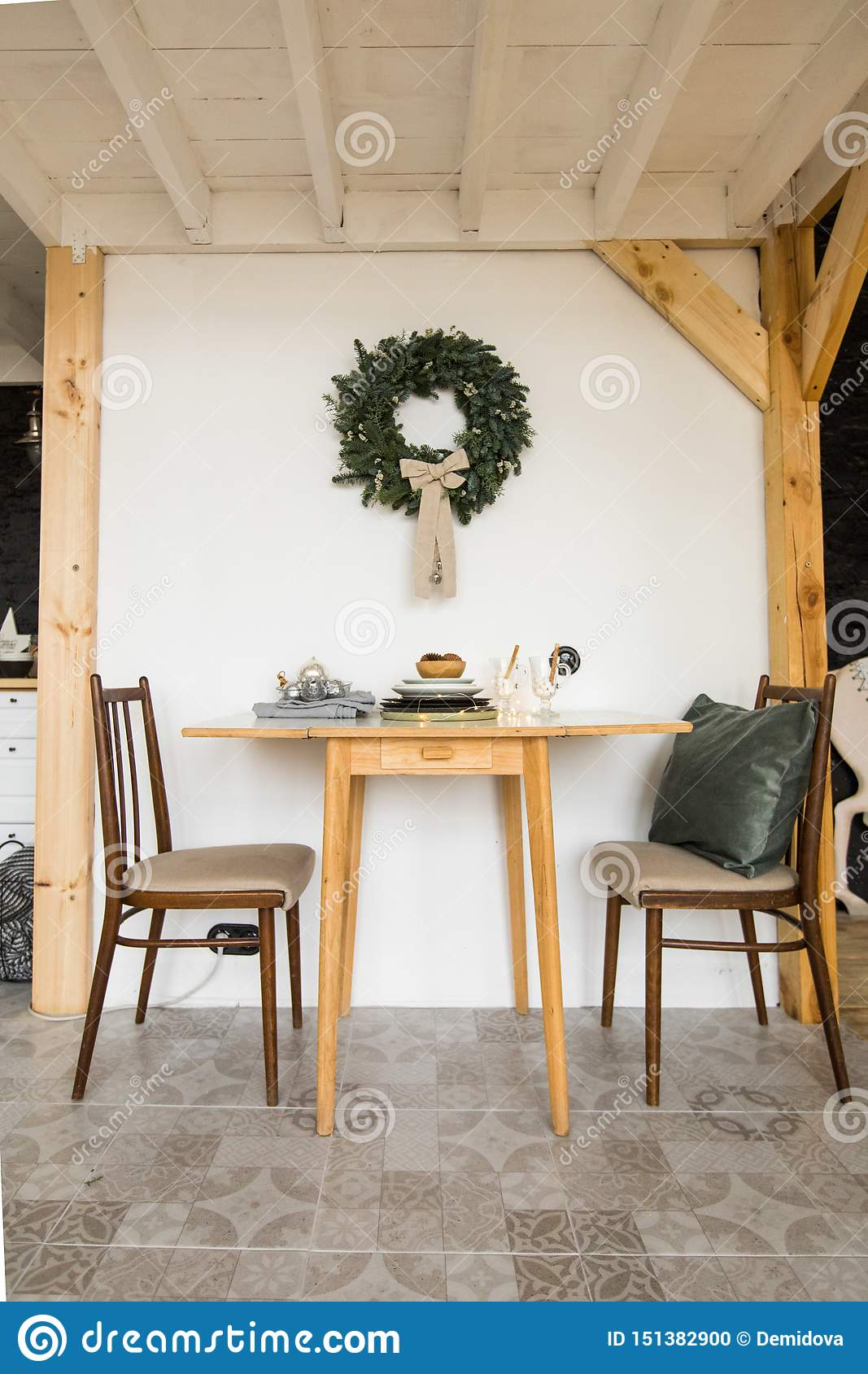 Festive simple table and chairs in living room