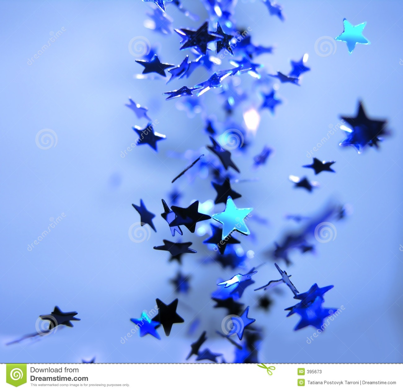 Falling Shiny Blue Stars Celebration