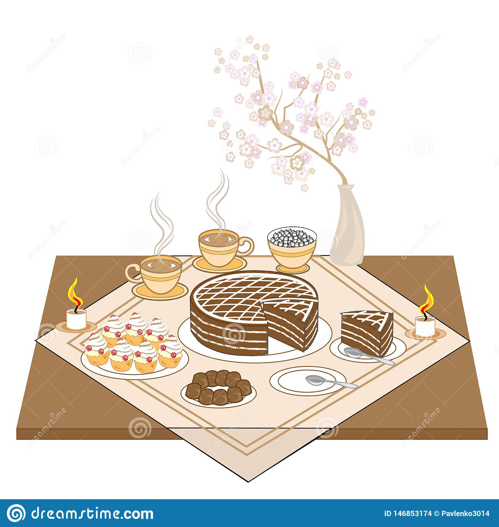 A festive table with candles and a chocolate cake. Hot tea or coffee, sweets, muffins - an exquisite treat for every taste.