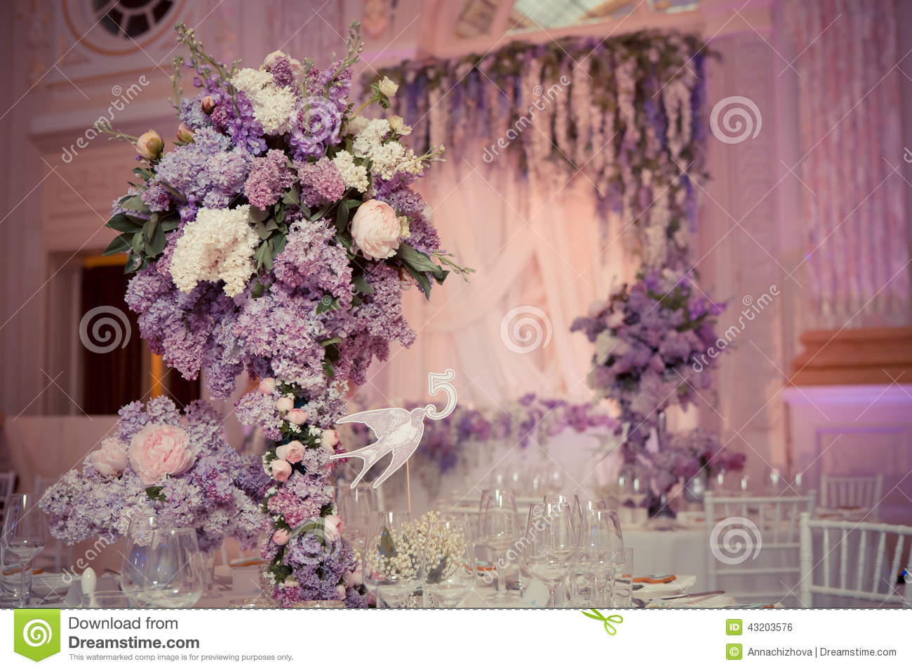 Festive Table Decoration In Lilac Colours Stock Photo Image 43203576
