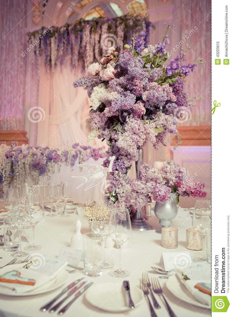 Festive table decoration in lilac colours stock image image of festive table decoration in lilac colours beautiful birthday junglespirit Images