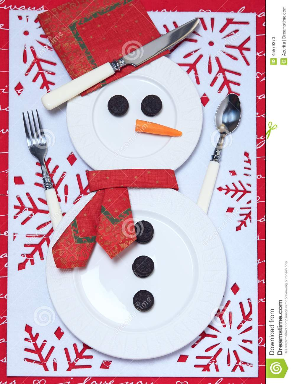 Festive Table Setting For Christmas Stock Photo Image