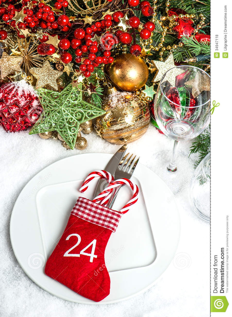 Festive Table Setting With Christmas Tree Decoration Stock ...