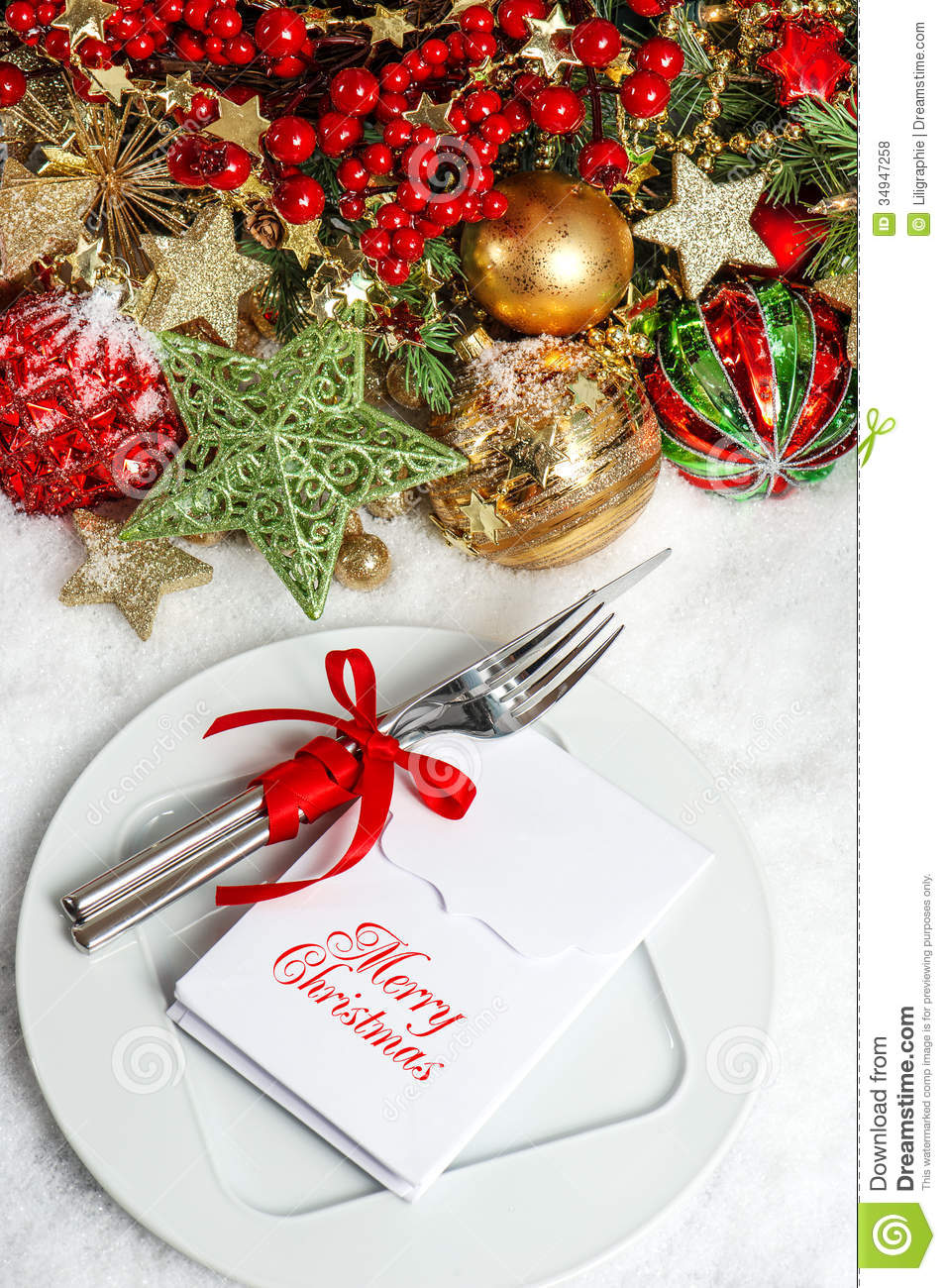 festive table setting decoration dinner invitation concept stock