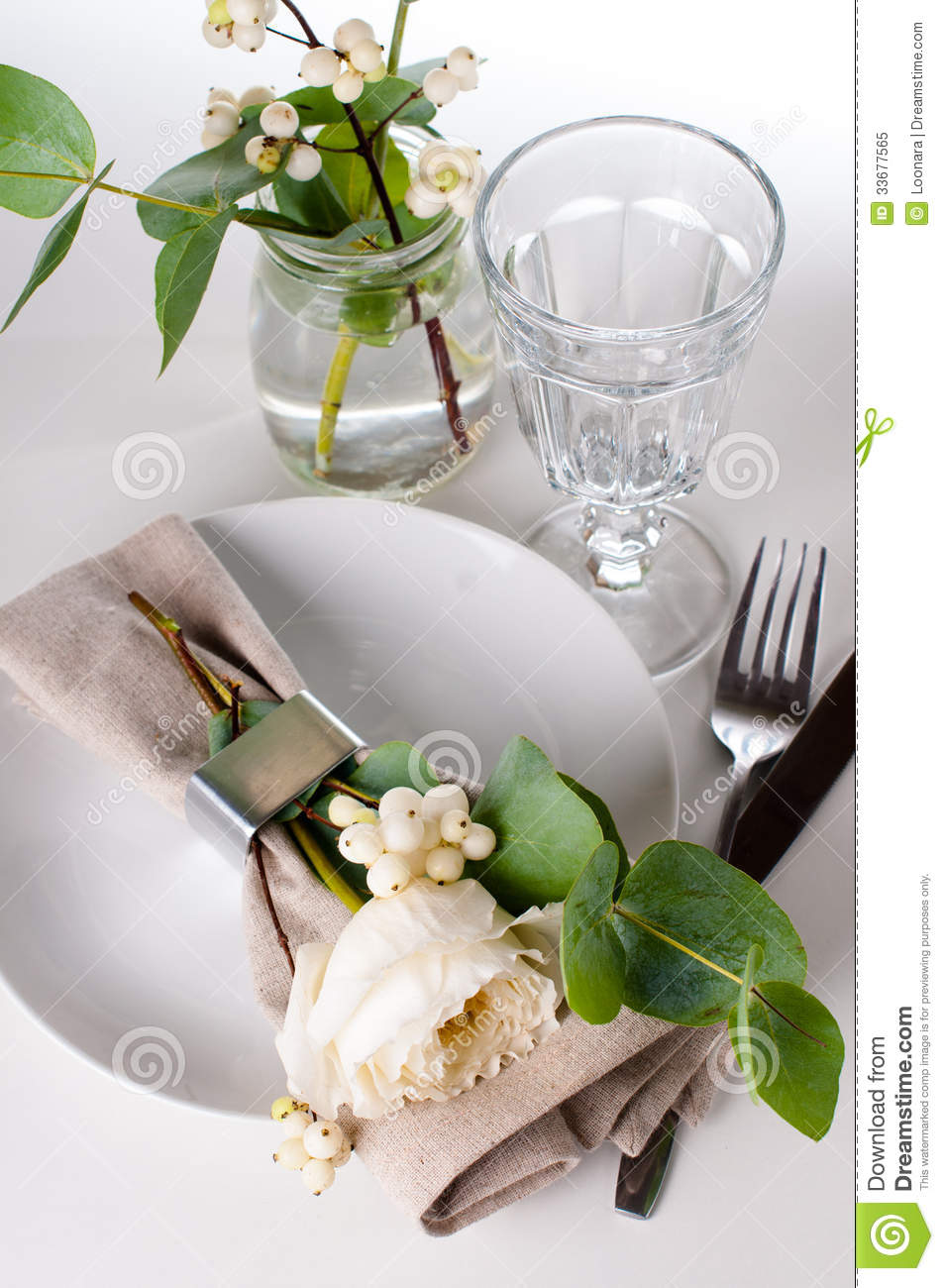 Festive Table Setting With Floral Decoration Royalty Free Stock Photo ...