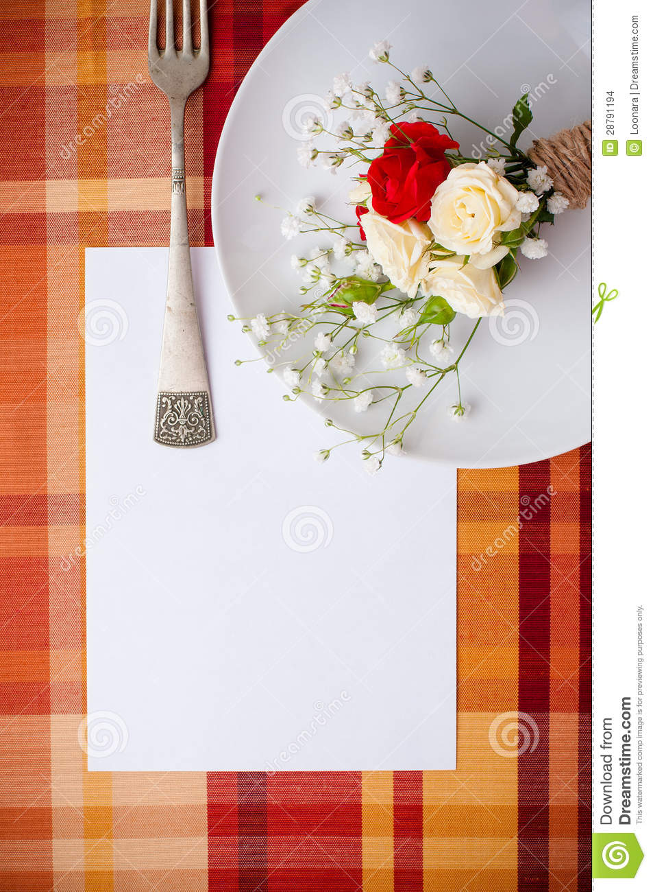Festive Table Setting With Flowers And Vintage Crockery, Card Te Stock ...