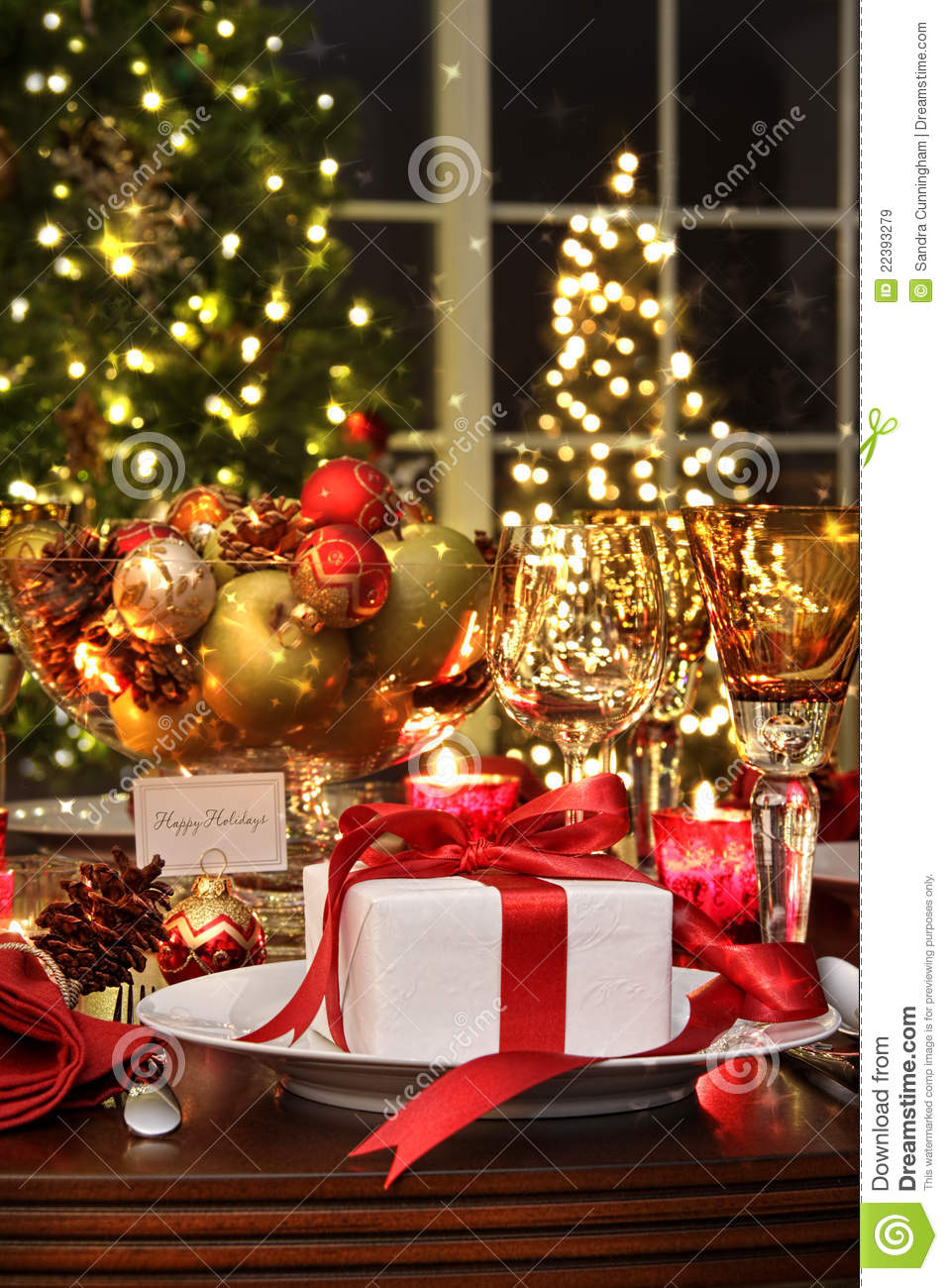 Table Setting With Festive Gift Royalty Free Stock