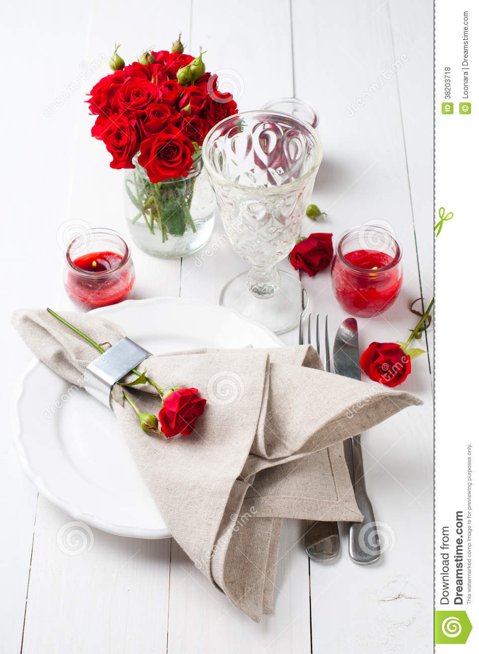 Festive Table Setting With Red Roses Royalty Free Stock