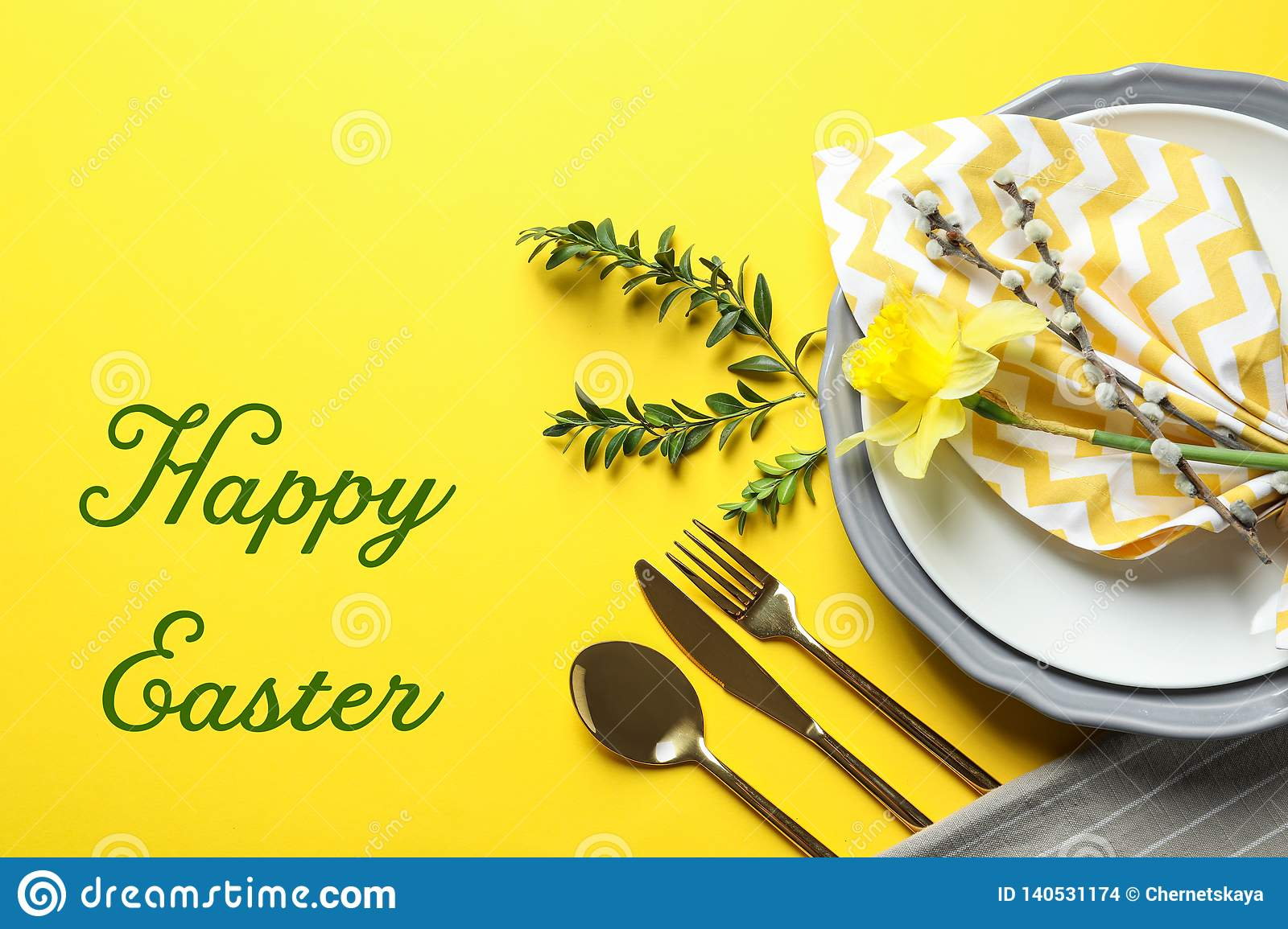 Festive table setting and text happy Easter on color background