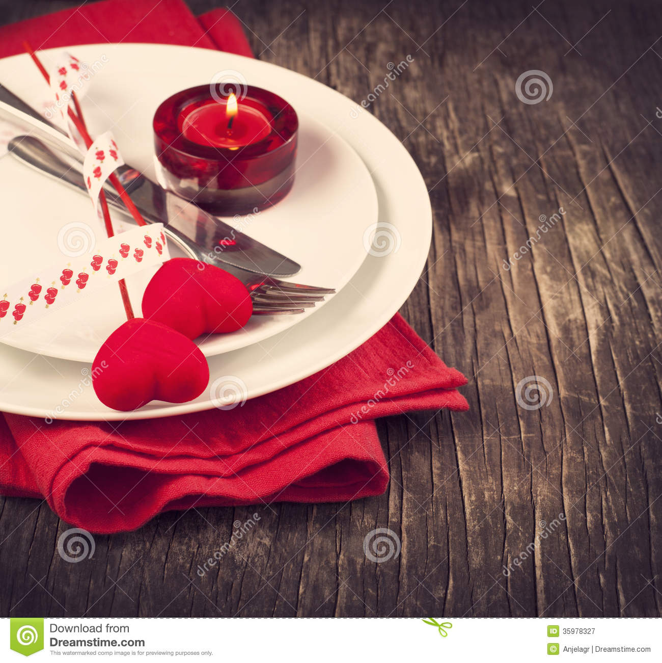Festive Table Setting For Valentines Day Royalty Free